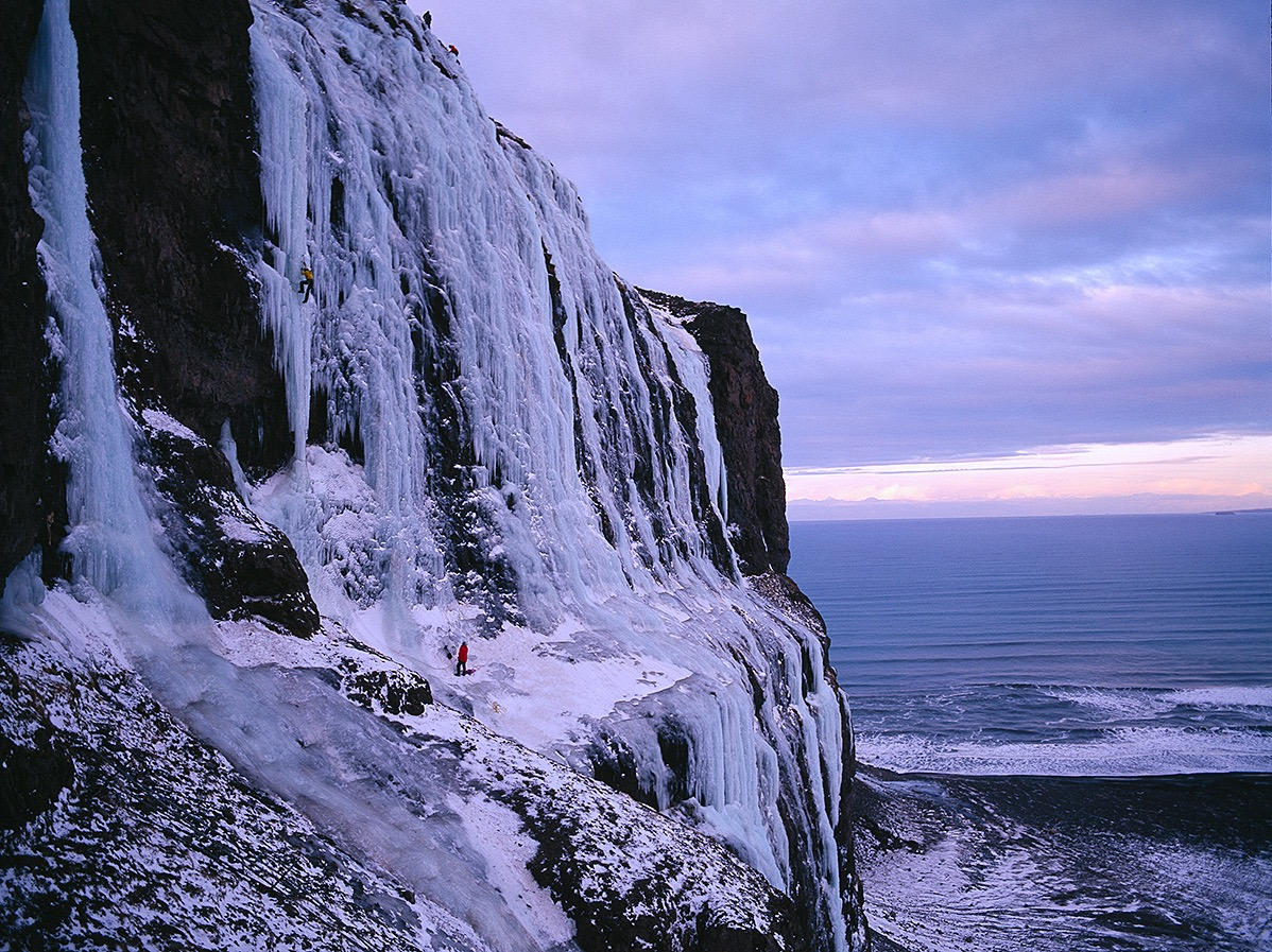 Mr. Freeze WI 6, Dramb, Iceland. First ascent in 2007  Photo: Alastair Lee
