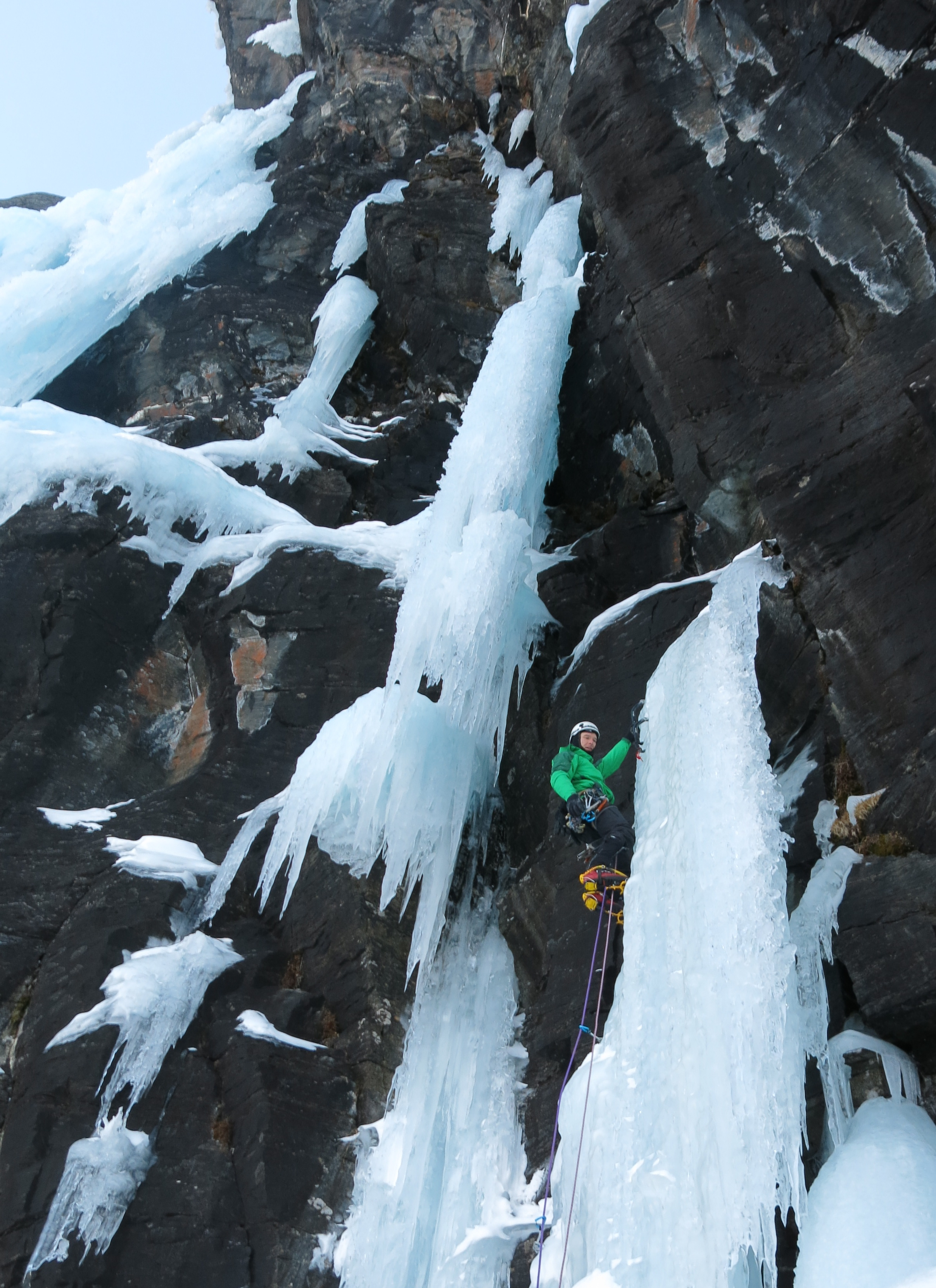 Mark Garthwaite on the first pitch of Spitfire WI 5+ during the possible first ascent in 2013.  Photo: Gresham collection