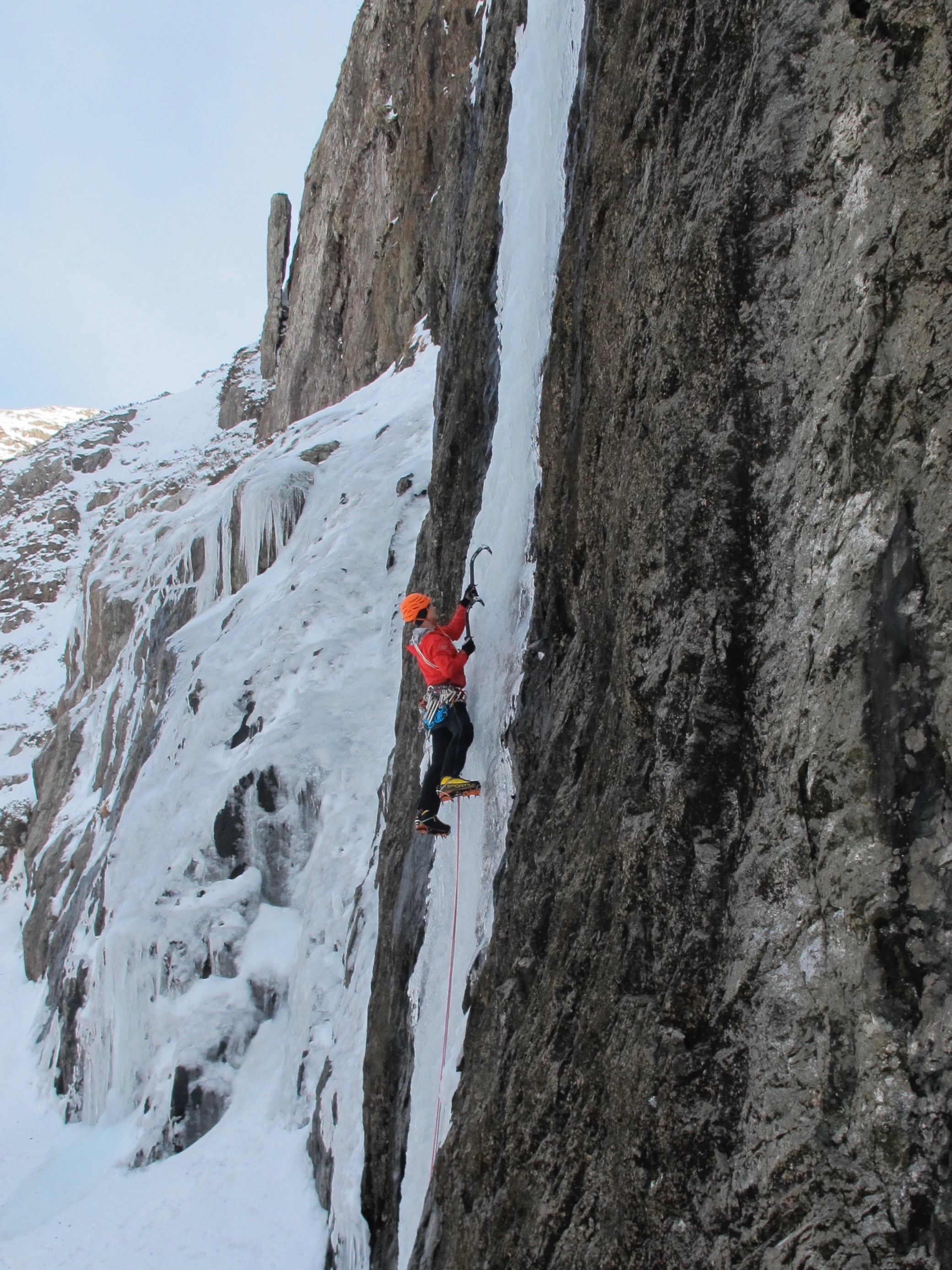 Central Icefall Direct WI 6, the final leg of the 'Welsh Triple Crown' Challenge. Photo Gresham collection