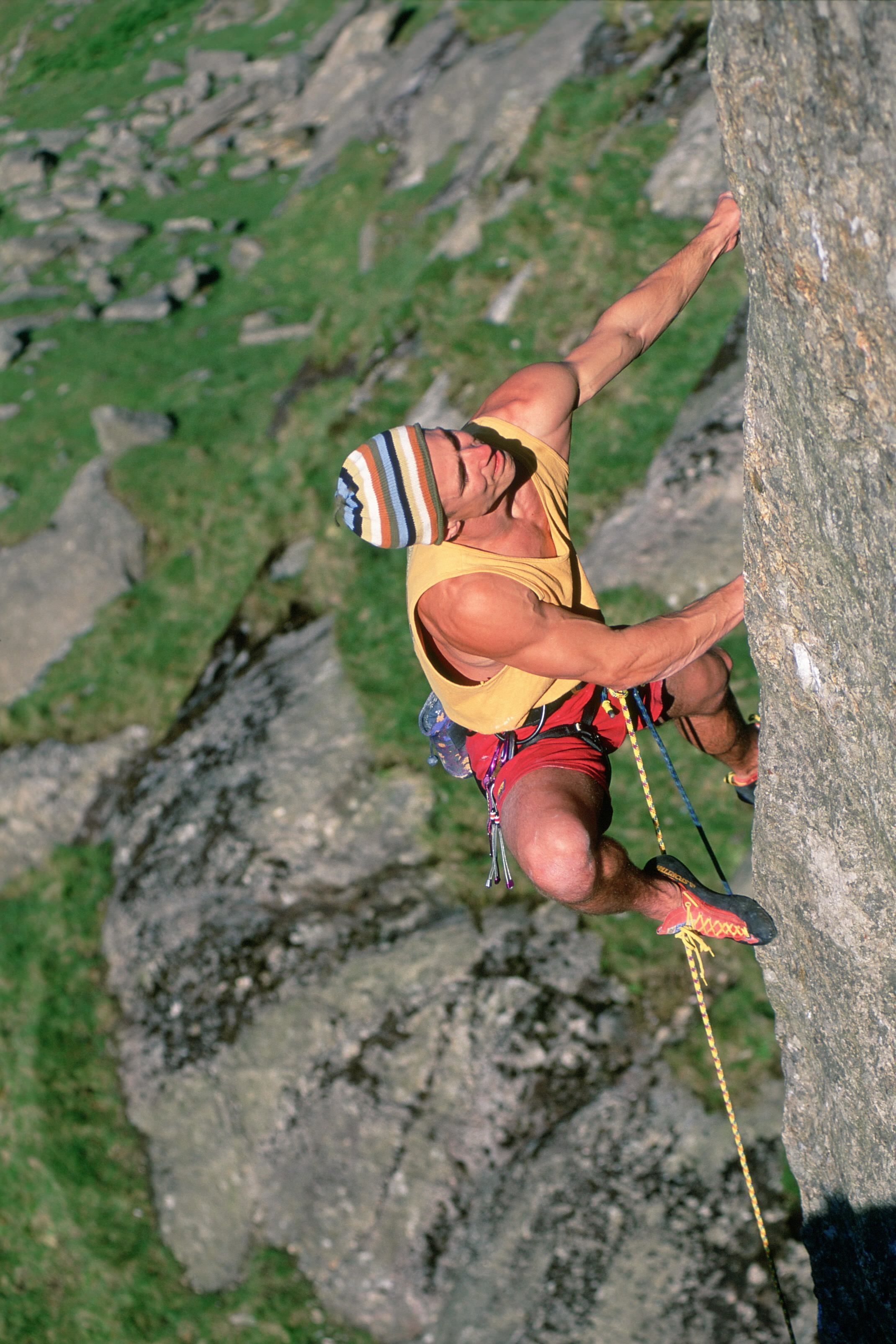 Testing the legendary Mirage, the world's first down-turned shoe on the first ascent of Gravediggers E8 6c, Llanberis, UK in 1997. Photo: Ray Wood