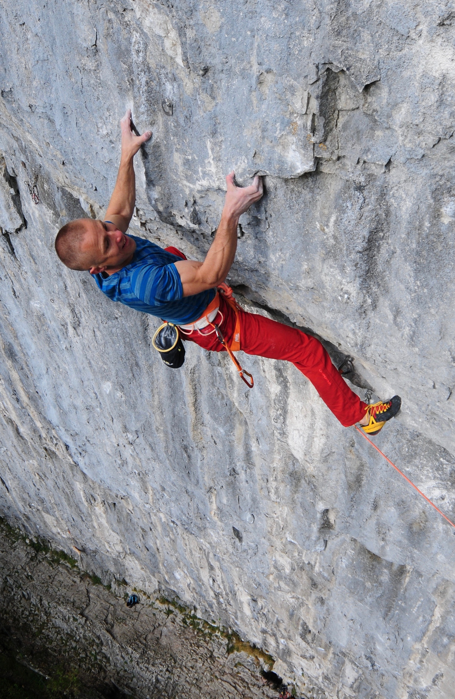 First ascent of Sabotage 8c+, Malham, UK, in 2016 wearing the Genius. Photo: Ian Parnell