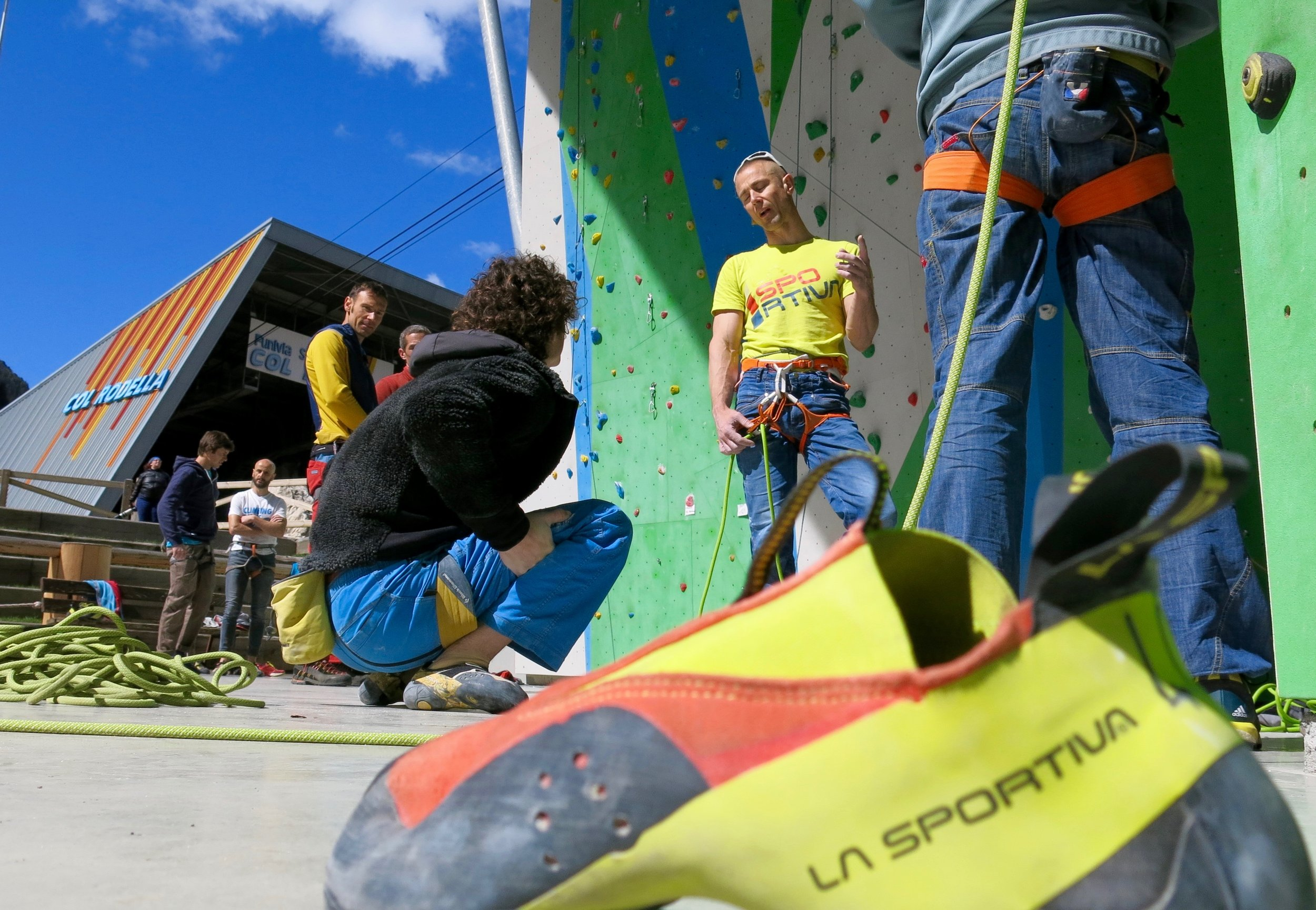 The Maverink shoe at a test event in Val di Fiemme with Adam Ondra.
