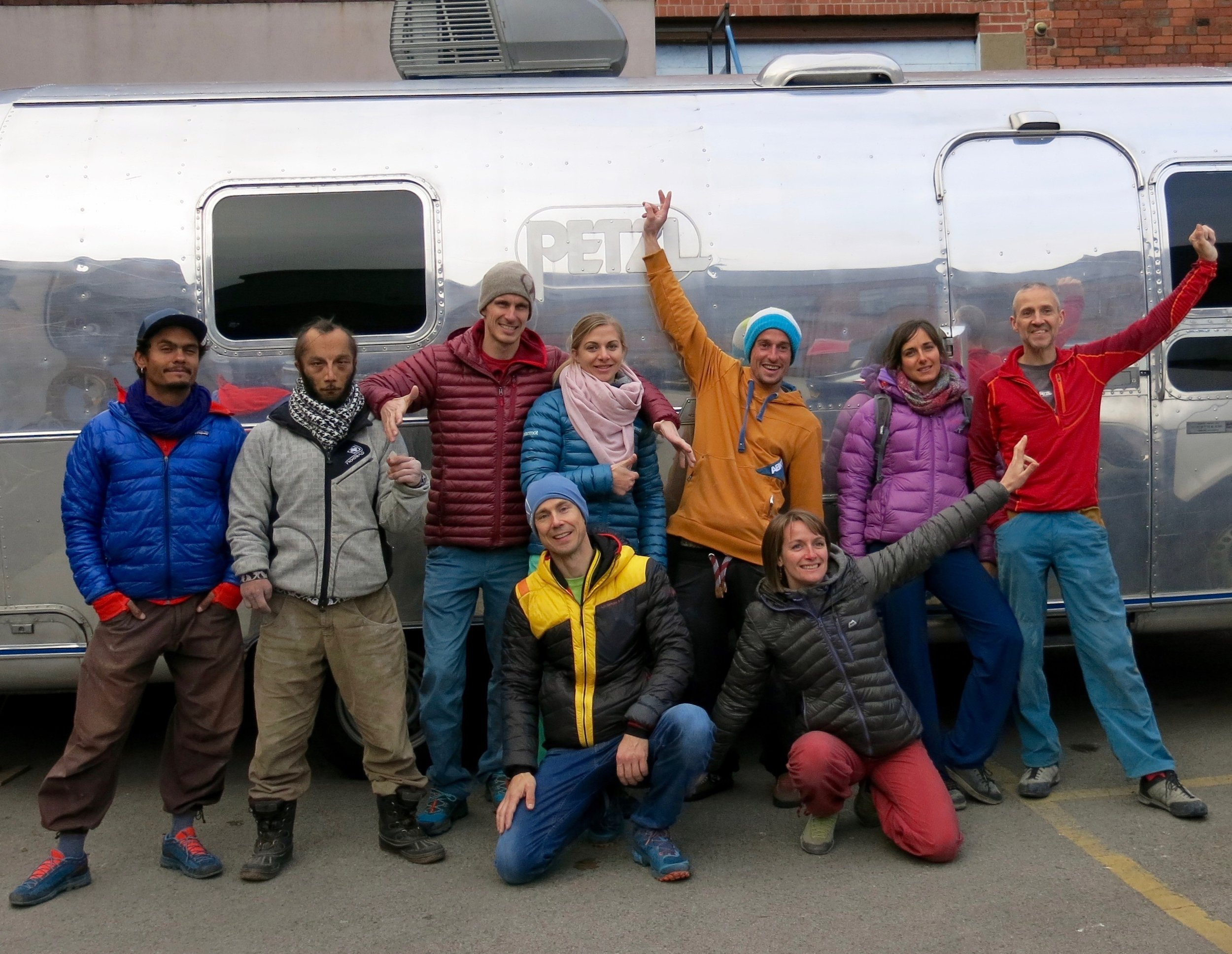 The team with the caravan at the Foundry in Sheffield. Clockwise from top left:Said Belhaj, Philippe RIbiere, Jorg Verhoeven, Katha Saurwein, Gerome Pouvreau, Alizee Dufraisse, Steve McClure, Florence Pinet, NG.