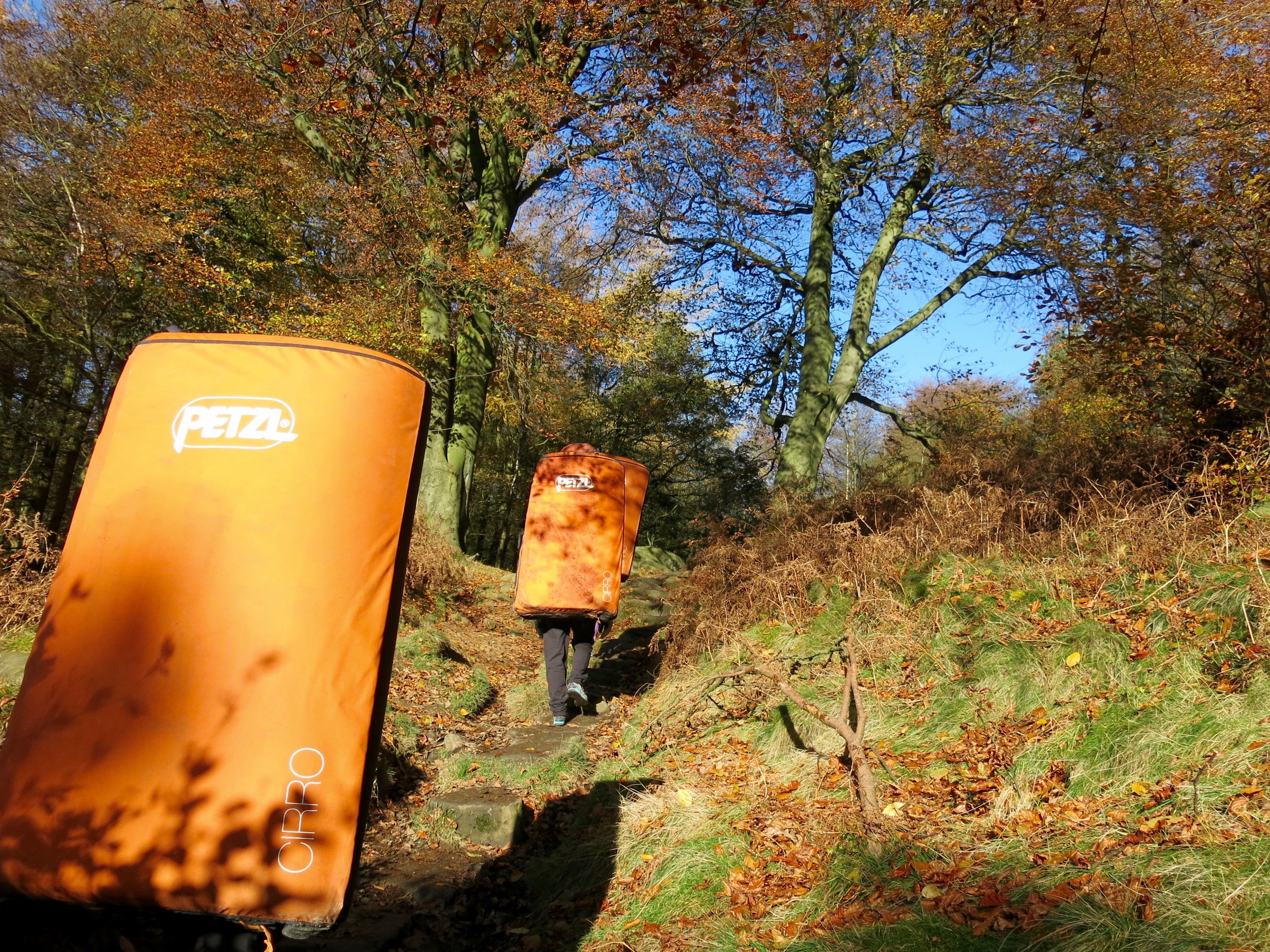 Heading up to Stanage Plantation with team Petzl in November 2017