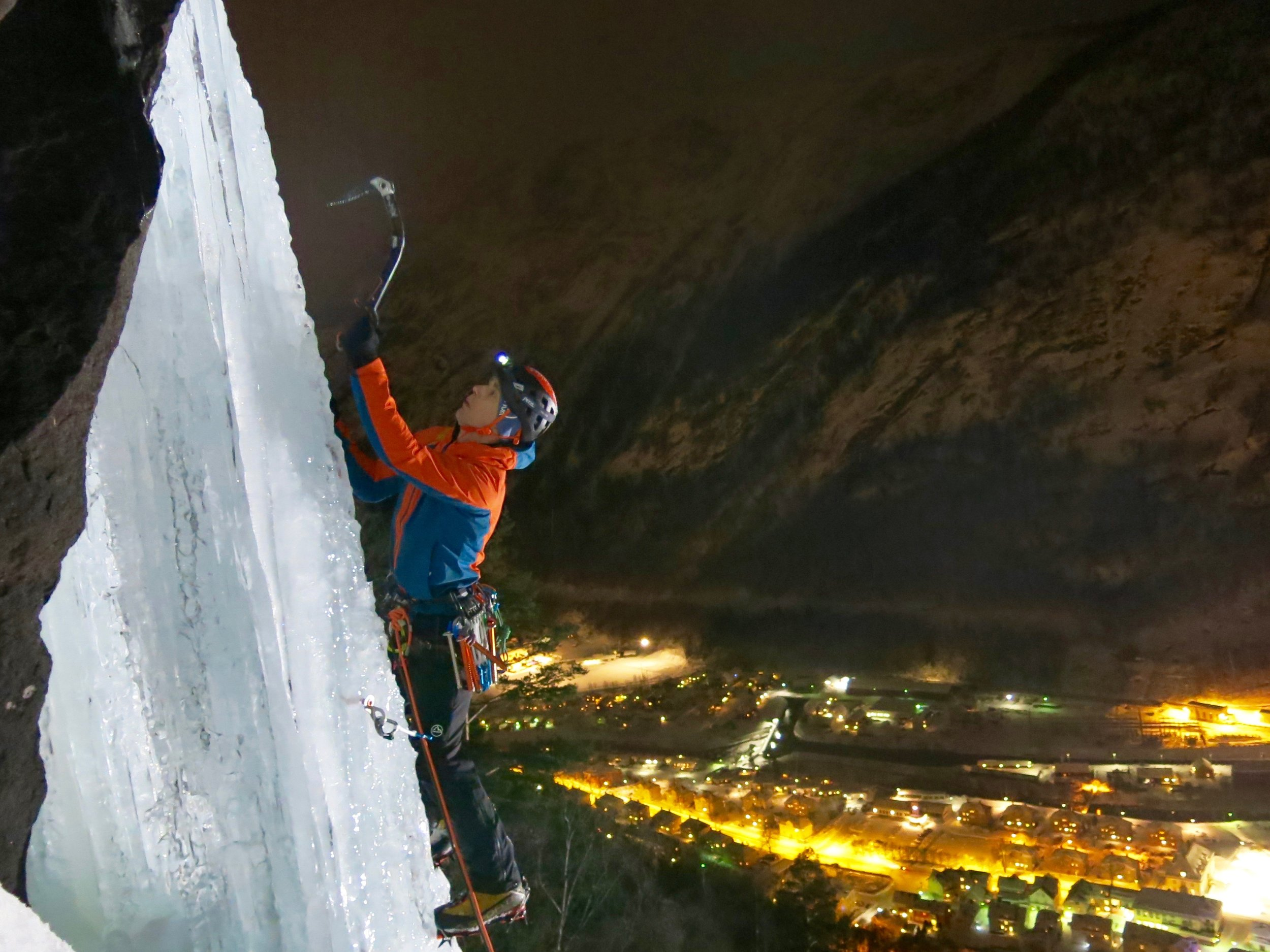 Night session in Rjukan with my trusty Petzl Tikka head-torch.  Photo: Gerard Smith