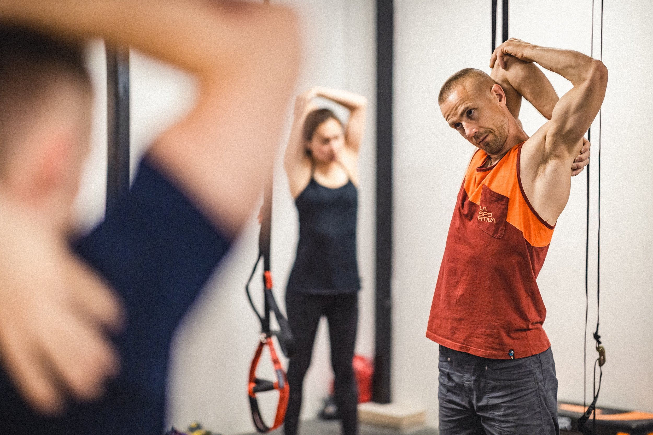 It's vital to stretch your upper limbs in order to avoid injury and maintain functional mobility. Neil's programs will explain how. Photo: Ben Grubb / Stronghold