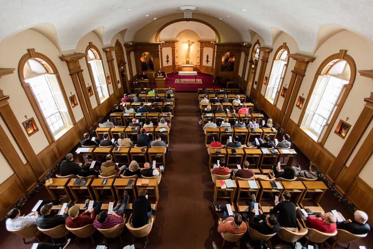 Worship and Spiritual Retreat sessions are led in Bellarmine's beautiful chapel by Fr. Michael Sparough, SJ.