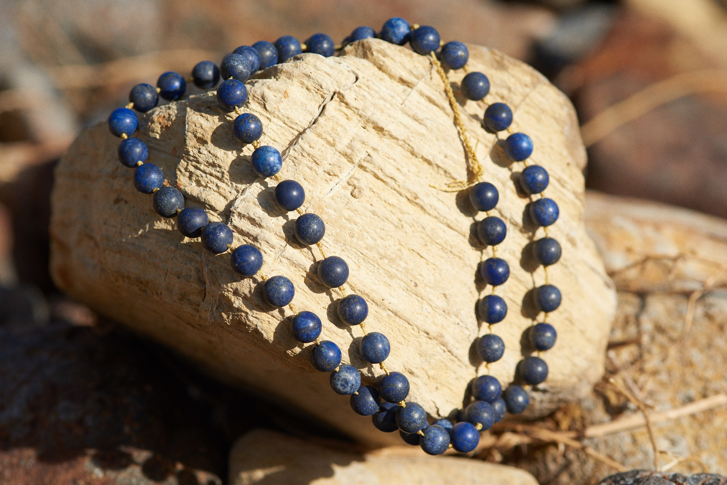 Hand beaded stone necklaces