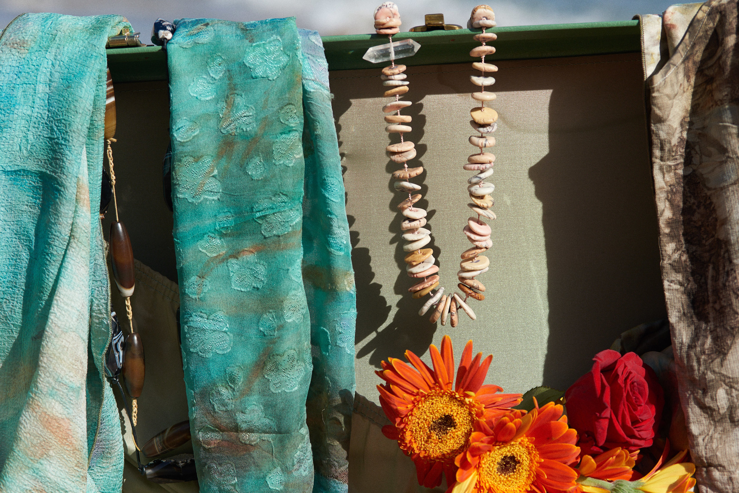 Eco Dye Silk Scarf Teal, Hand Made Shell Necklaces
