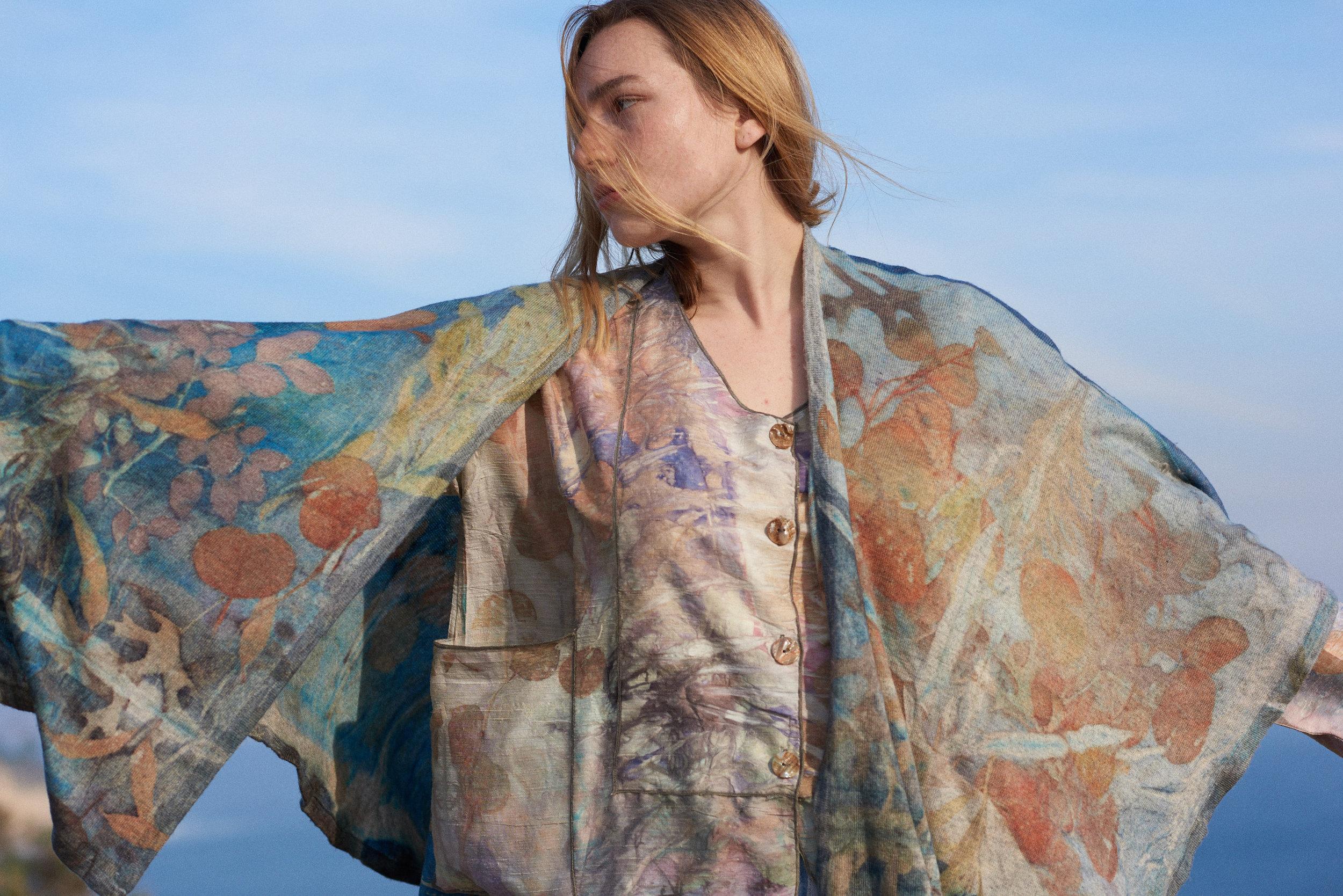 Eco Dye Silk Jacket Shirt, Eco Dye Cashmere Kimono Cape