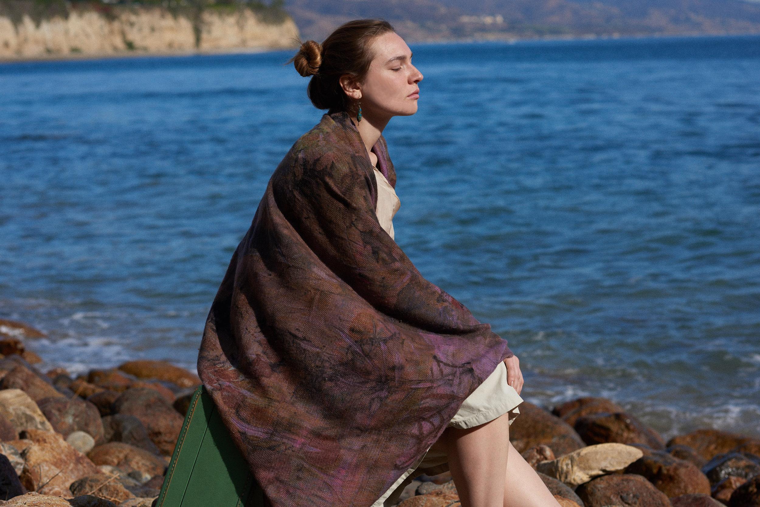 Cashmere Cape Kimono in Magenta Eco Dye