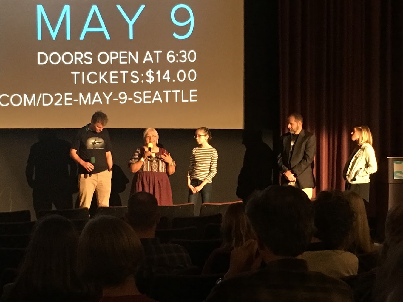 Left to Right: Writer Steven Hawley, Dam Removal Advocate Carrie Chapman Nightwalker Schuster, Whale Activist London Fletcher, Director Michael Peterson, and Moderator Alison Morrow from respond to questions from the audience.