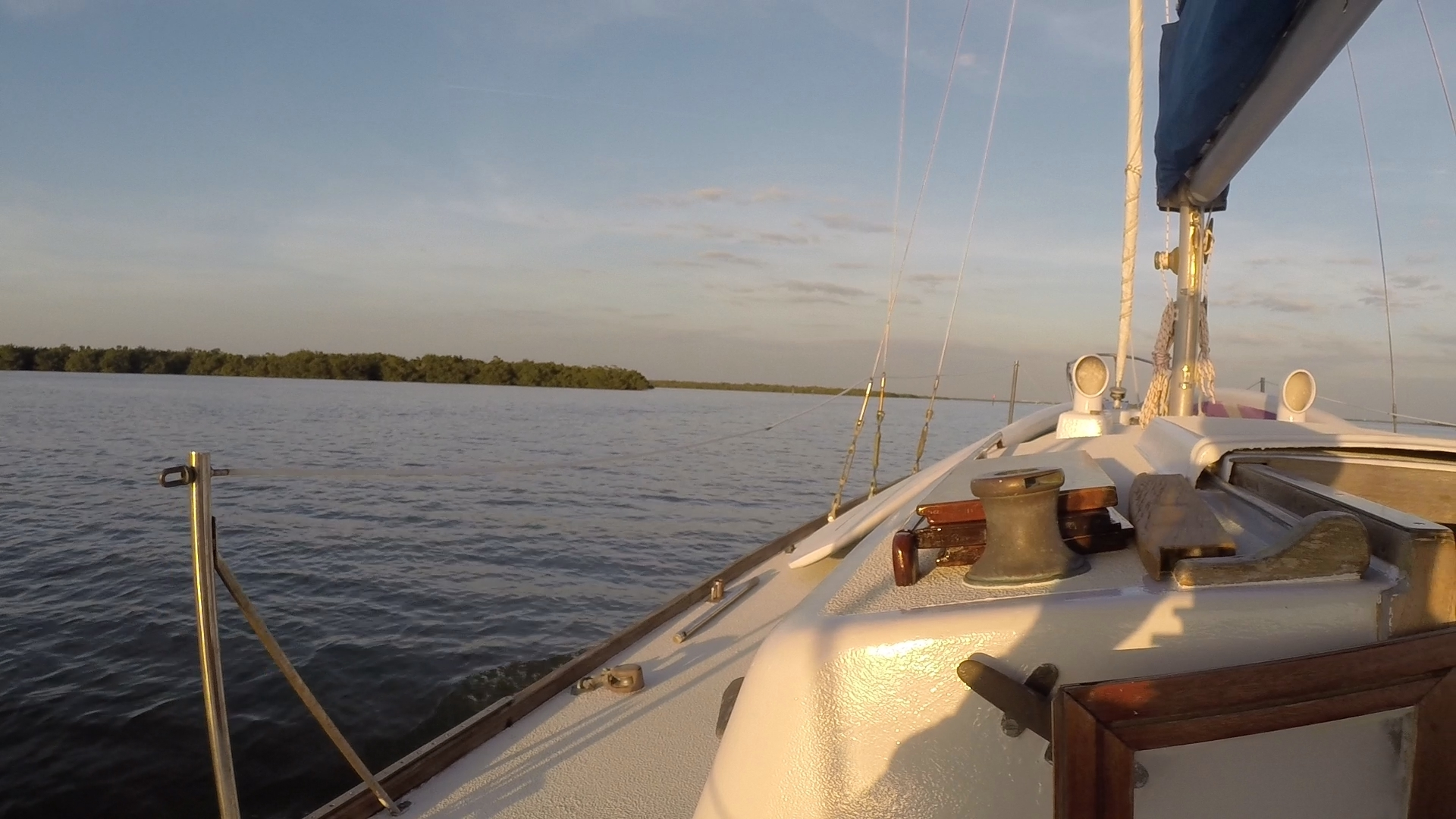Motoring into Merwin Key for the night. It was a calm and placid evening.