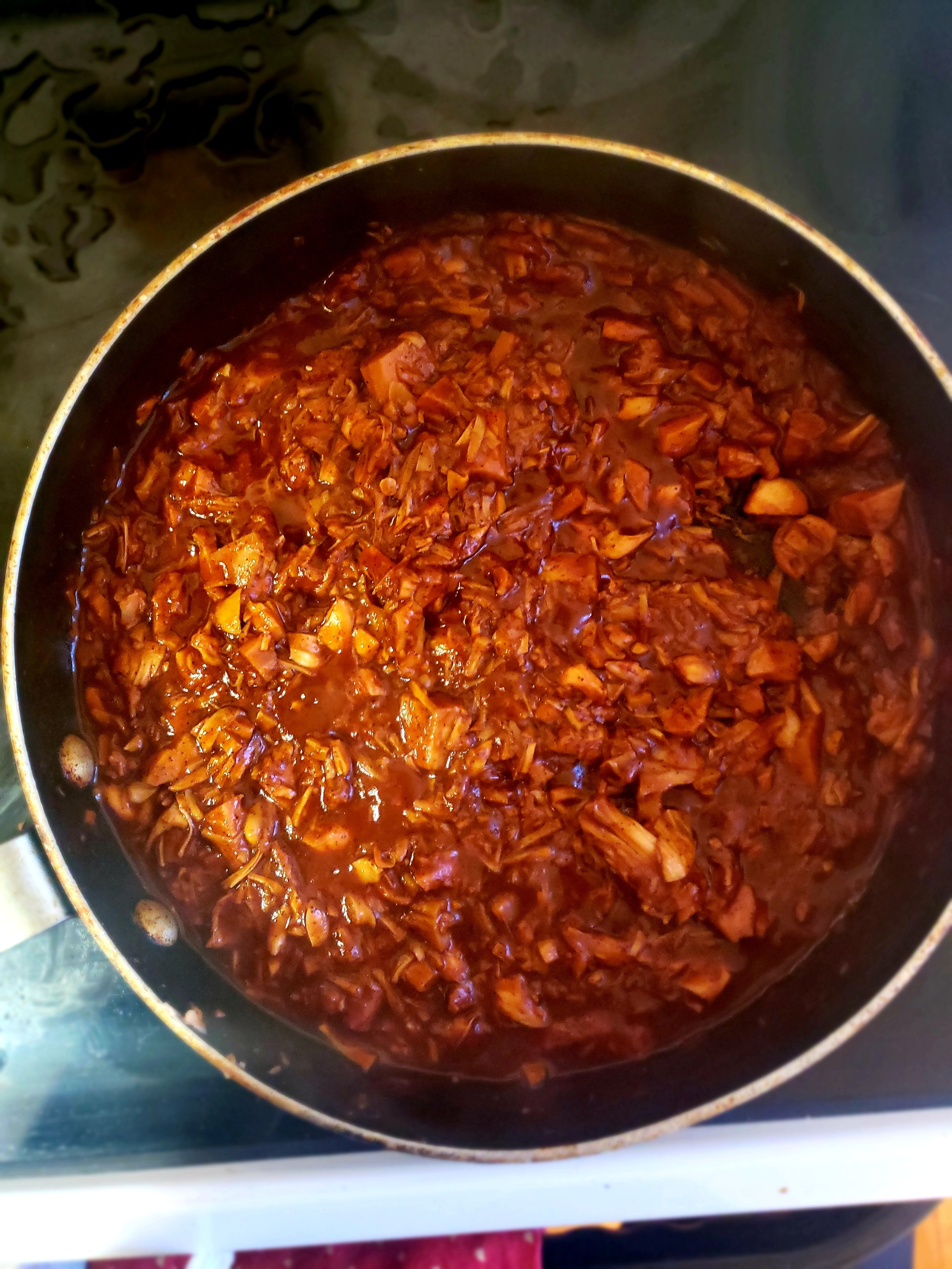 Jackfruit simmering softly in spices