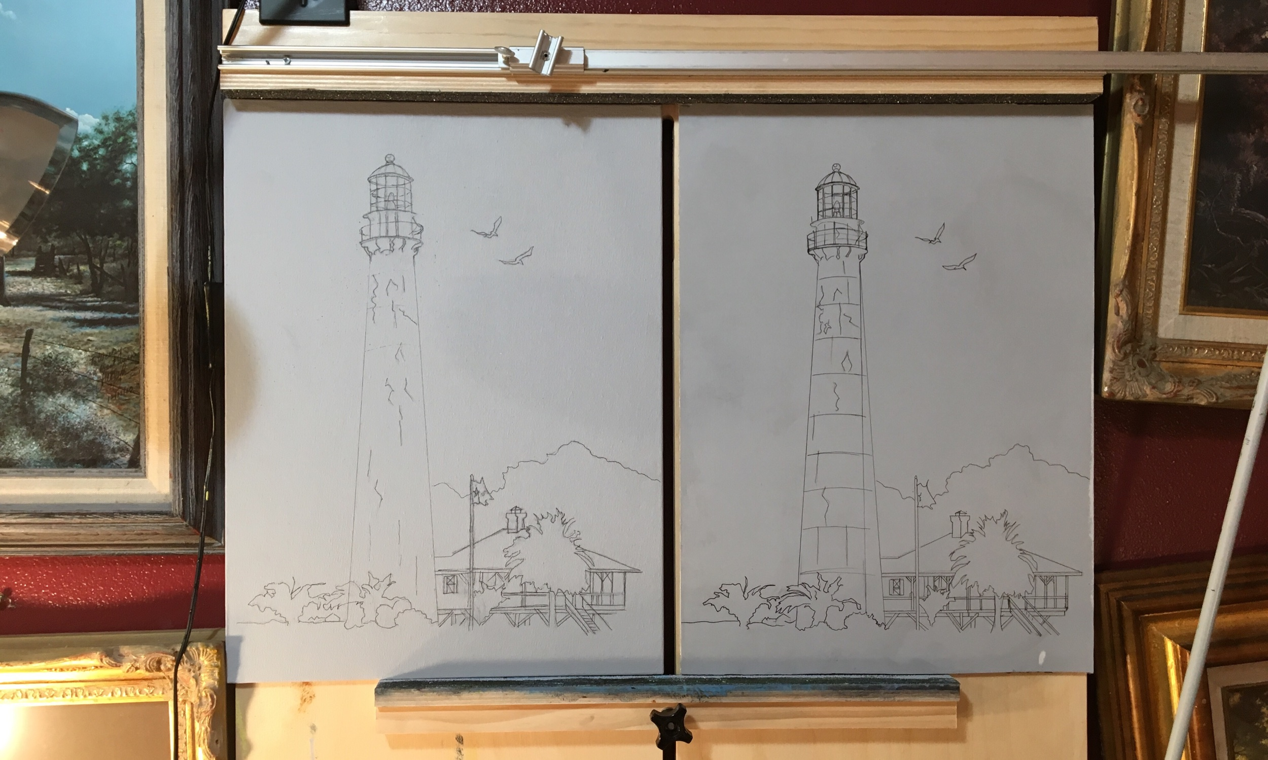 One Composition in Two Styles - I will be painting the Point Bolivar Light in oil using Palette Knives on a Canvas Panel and Brushes on a Smooth Hardboard surface