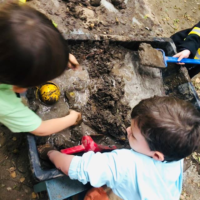 Playing with mud allows children to express their creativity while enhancing their fine motor skills. Children practice social skills such as cooperation, negotiation, communication, and sharing as they work together.
