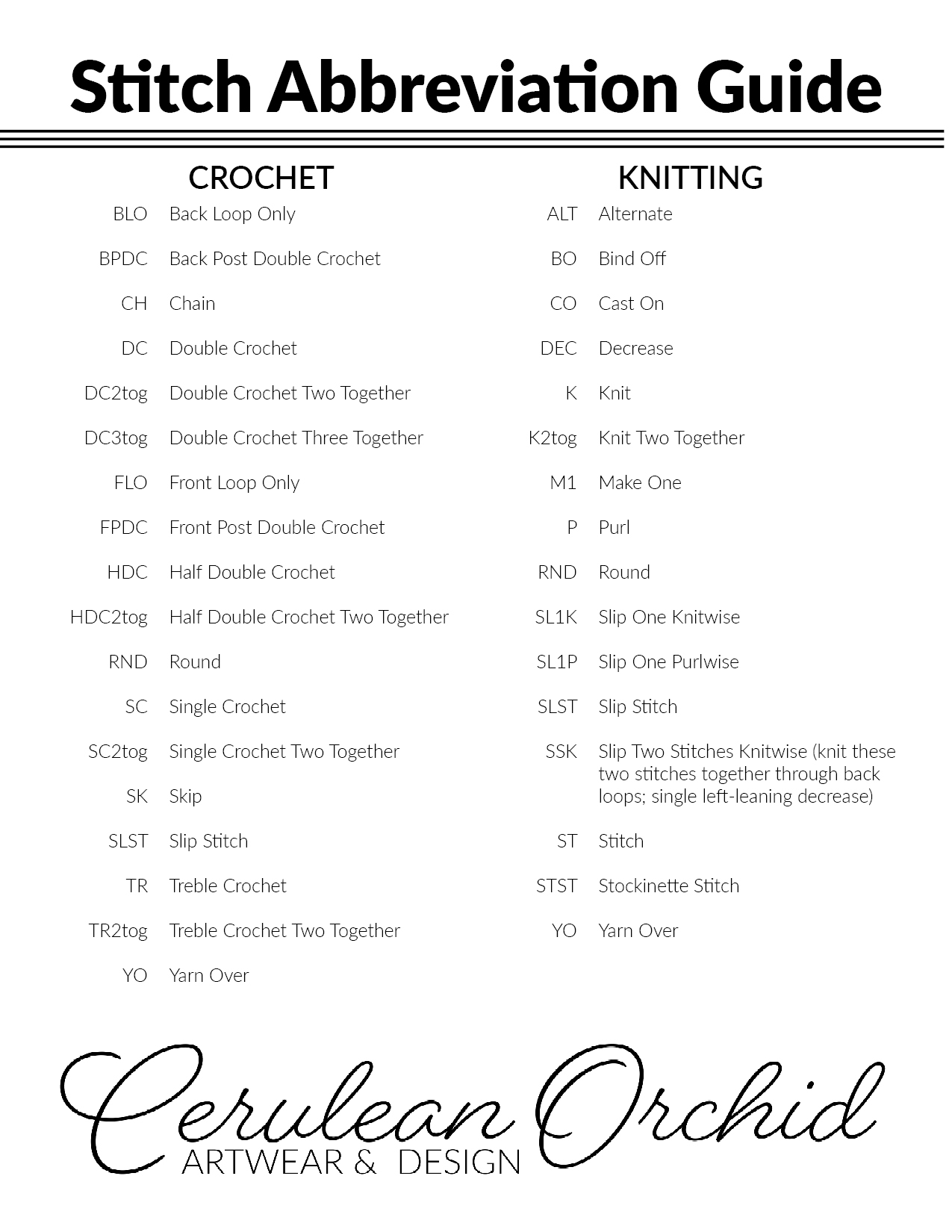 Cerulean Orchid Stitch Abbreviation Guide - We've created a quick reference sheet for the stitch abbreviations we most commonly use in our crochet and knitting patterns. You can download a copy by clicking the button below.