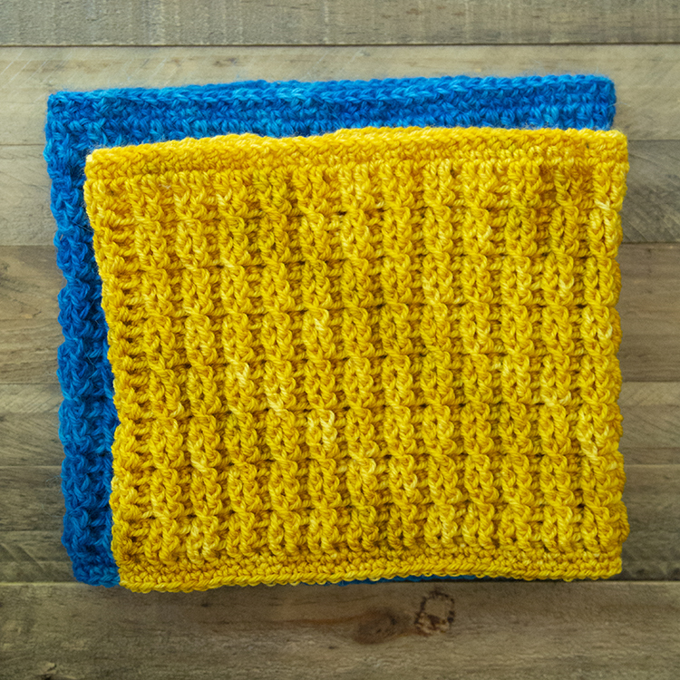 Yellow and Blue Crochet Cable Cowl