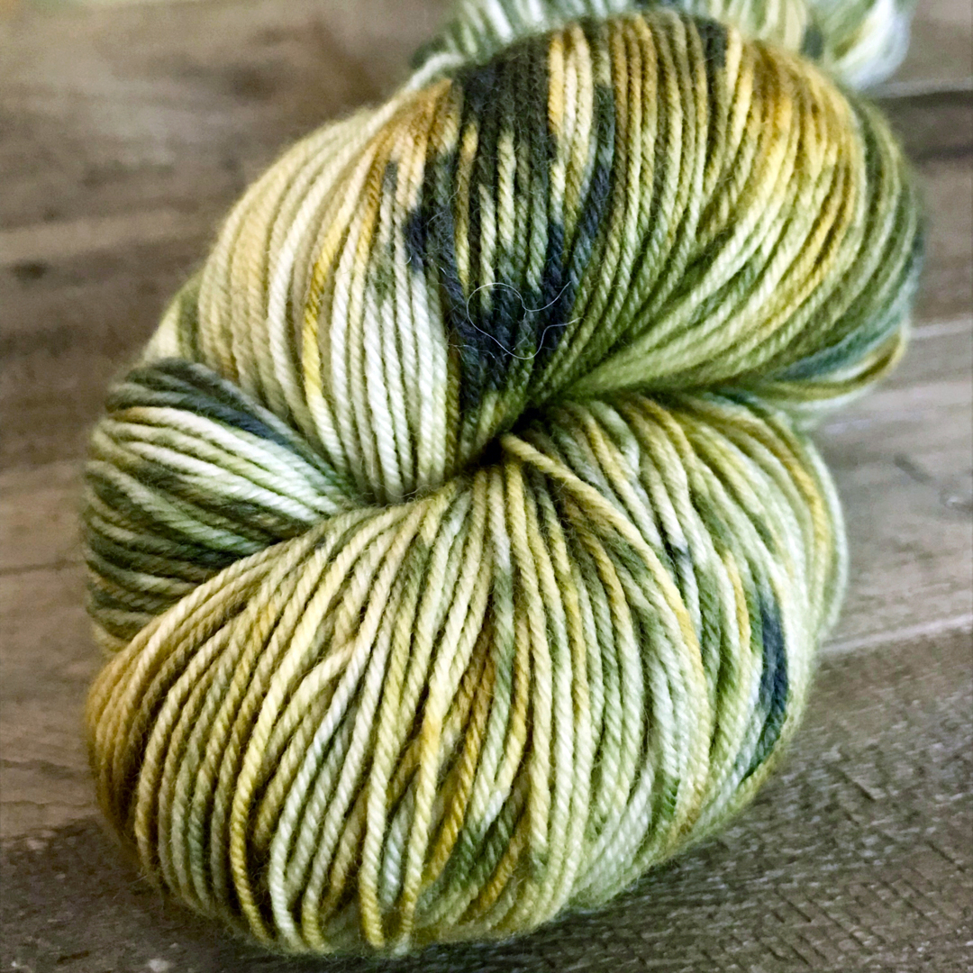 Speckled green yarn