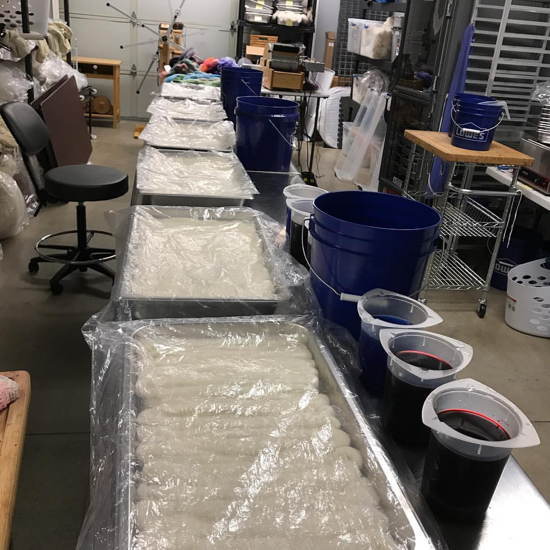 Yarn being prepared for dying.
