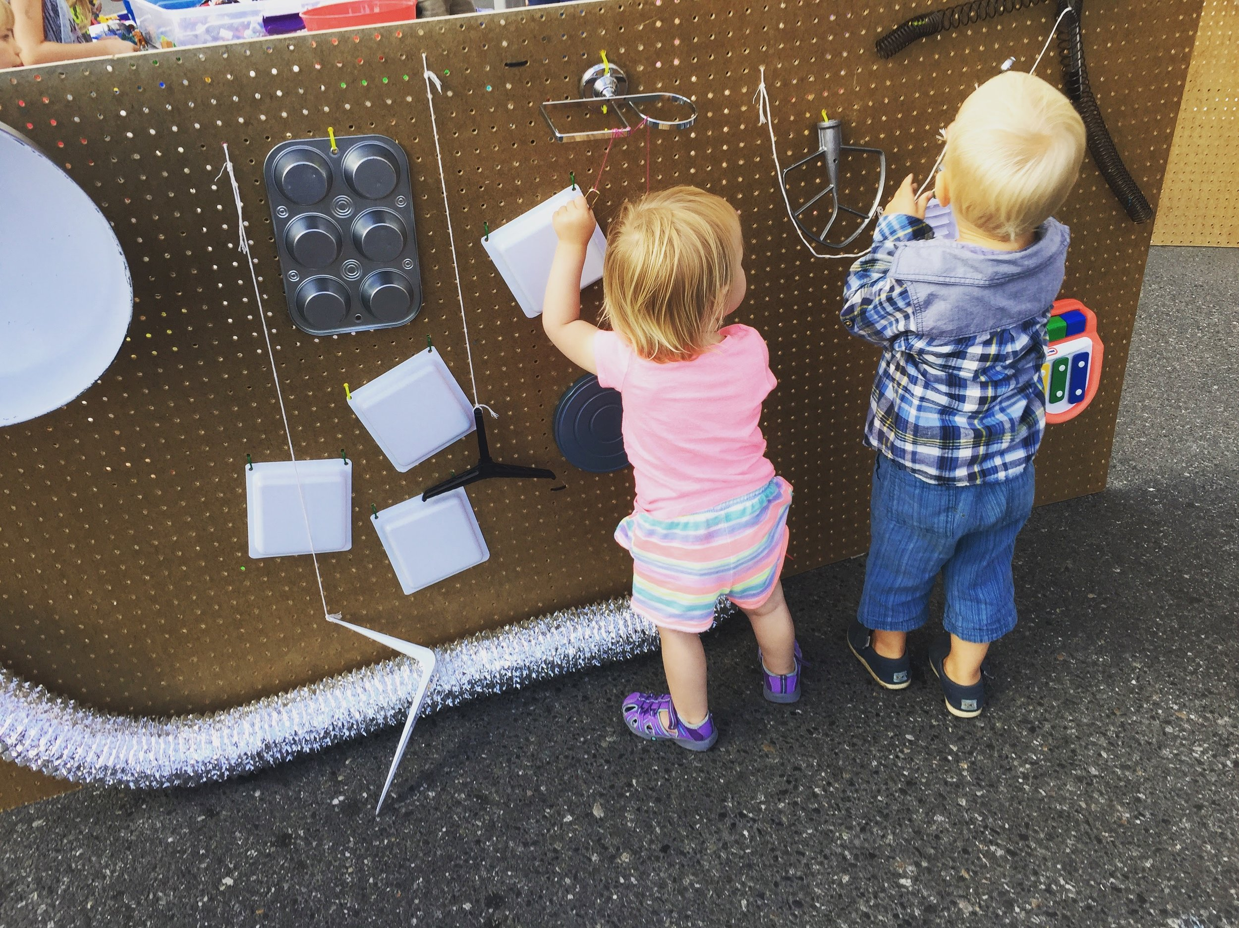 Toddlers explore the  Wall of Sound  at Downtown Sounds, 2017
