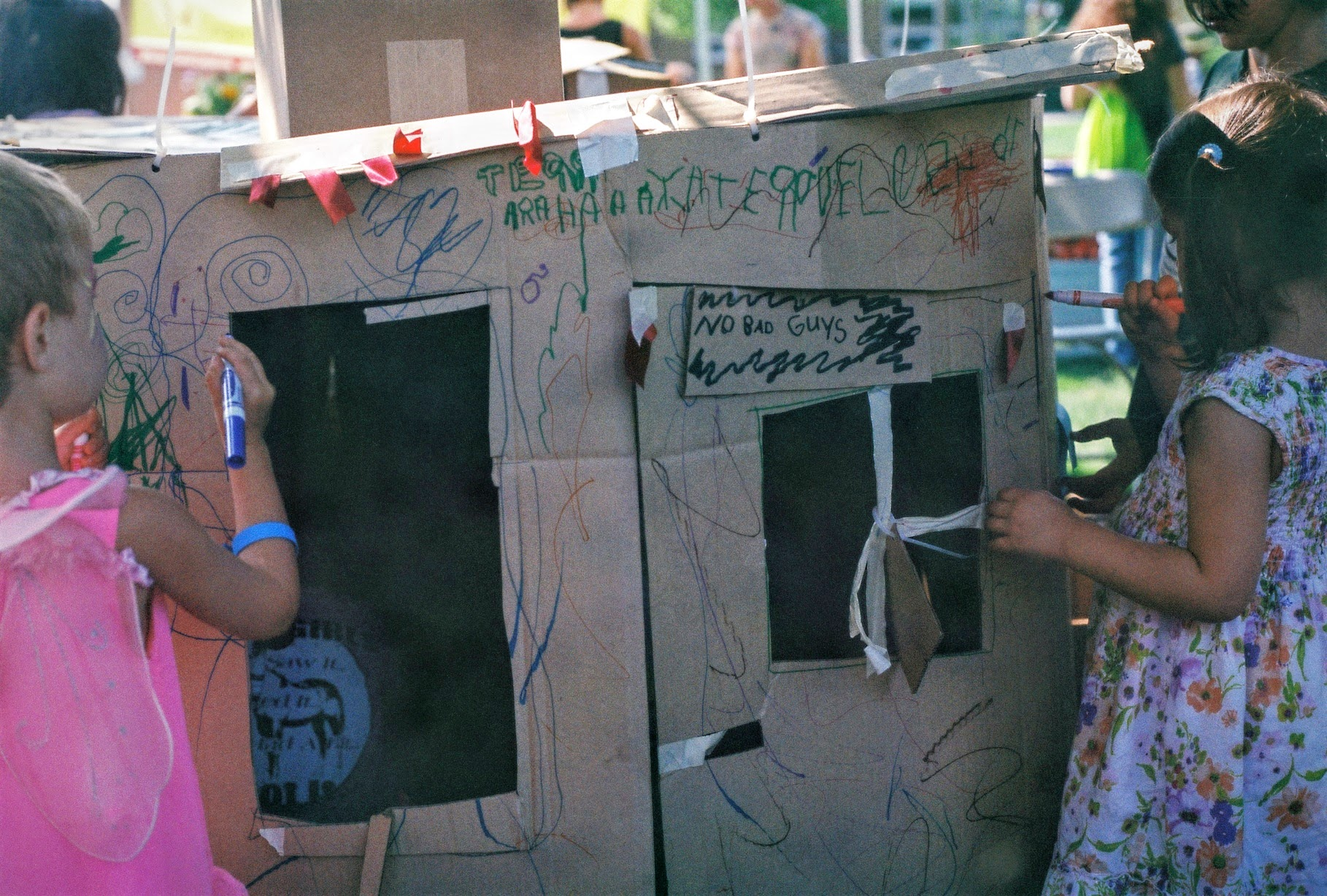 A  collaborative cardboard structure  at the Community Food Co-Op Summer Picnic, 2017