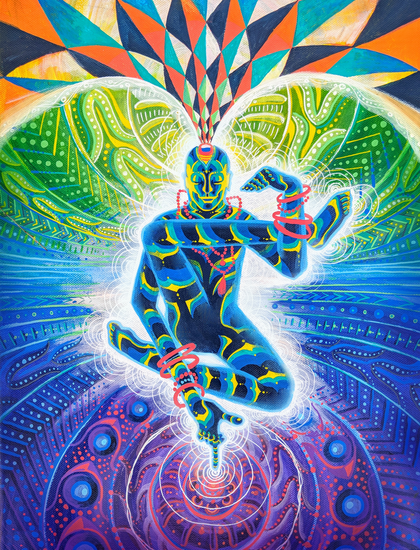 "Psychedelic Yoga Man, Acrylic on canvas 24"" x 18""   ORIGINAL   SOLD"
