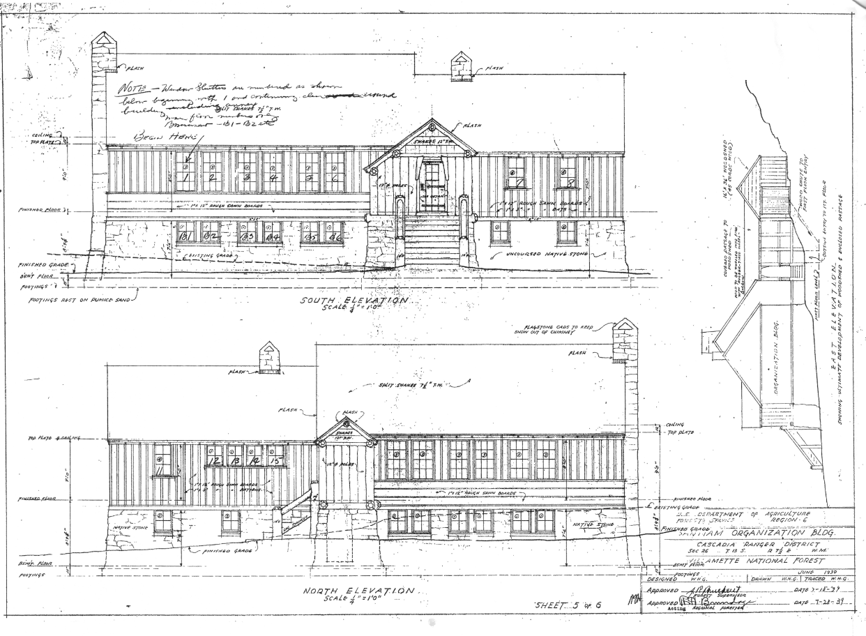 Elevation of front and back of original lodge plans. Circa 1940