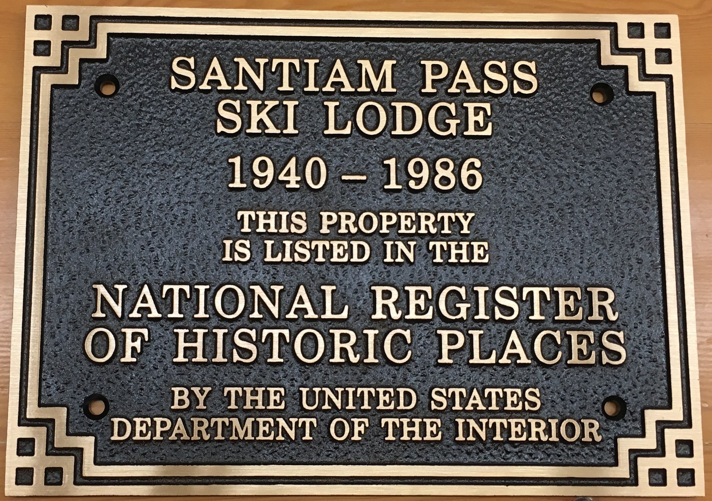 This is the plaque that will be installed at the entrance of the restored lodge..