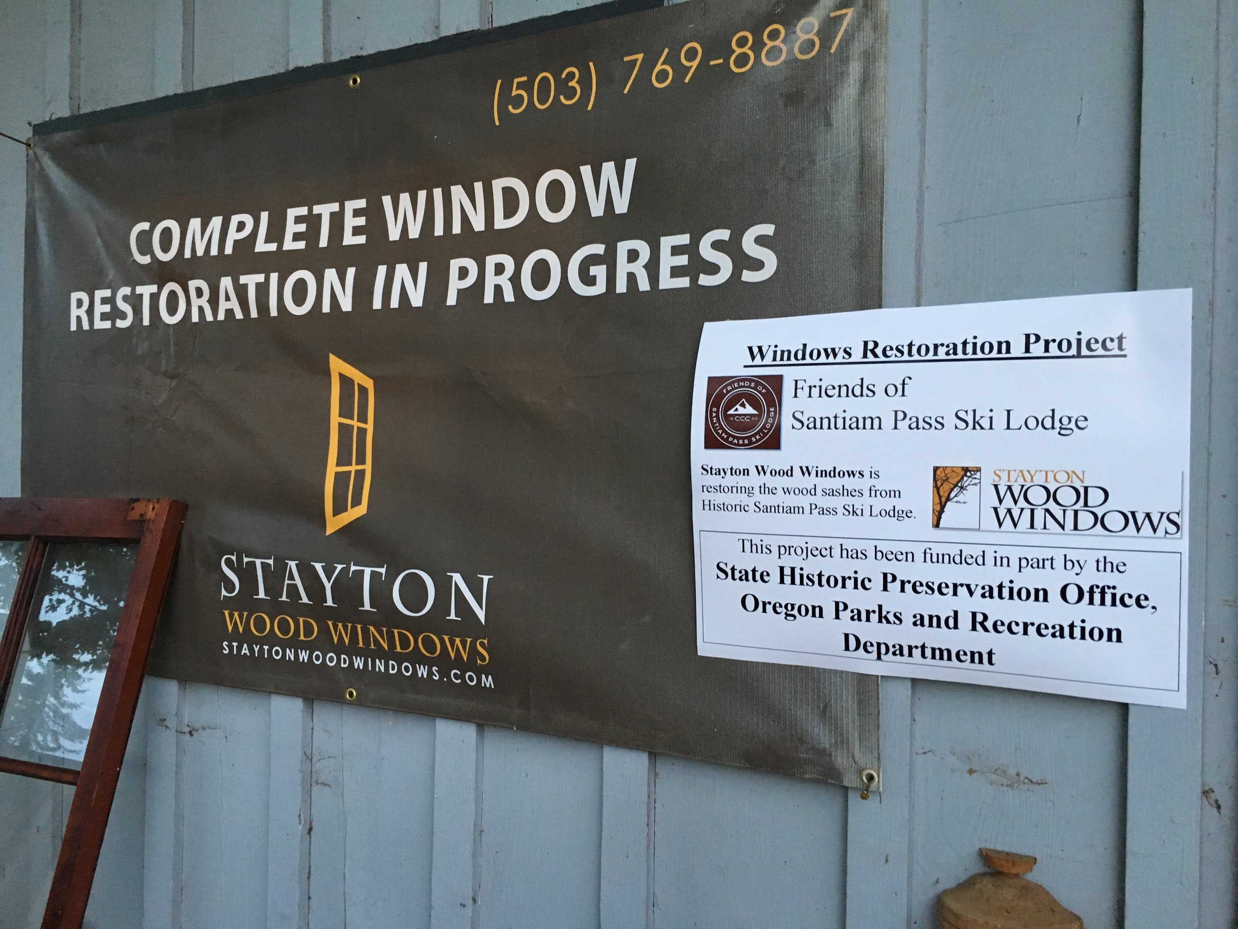We are grateful for a Preserving Oregon Grant from the State Historic Preservation office, and to Mack Strawn and the crew at Stayton Wood Windows for making possible the restoration of the sashes. Almost half were damaged or destroyed by vandals.