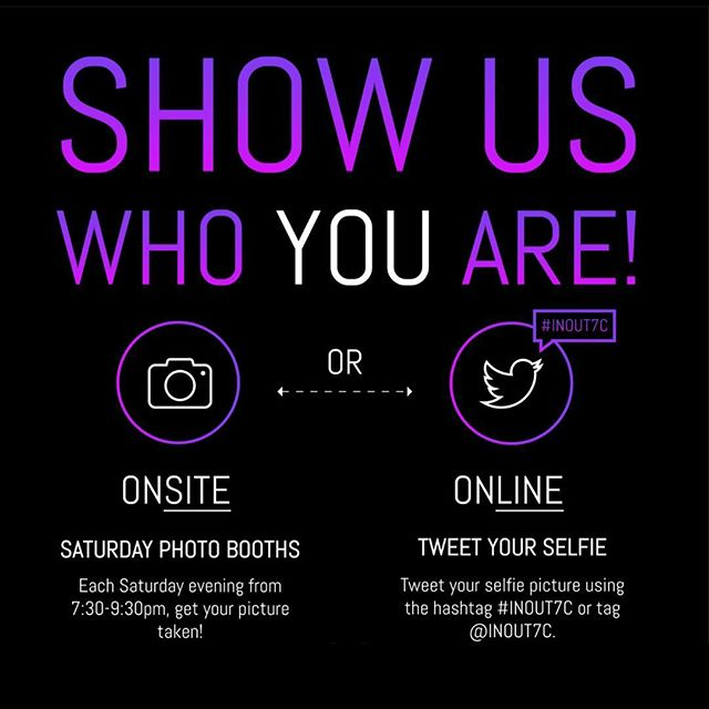 SHOW US WHO YOU ARE! 📸Tweet your selfie using #INOUT7C and be part of our Saturday Live Projections! Help us promote the arts 🎭! #inout7c #inoutexperience #surcreative #surcreativedc