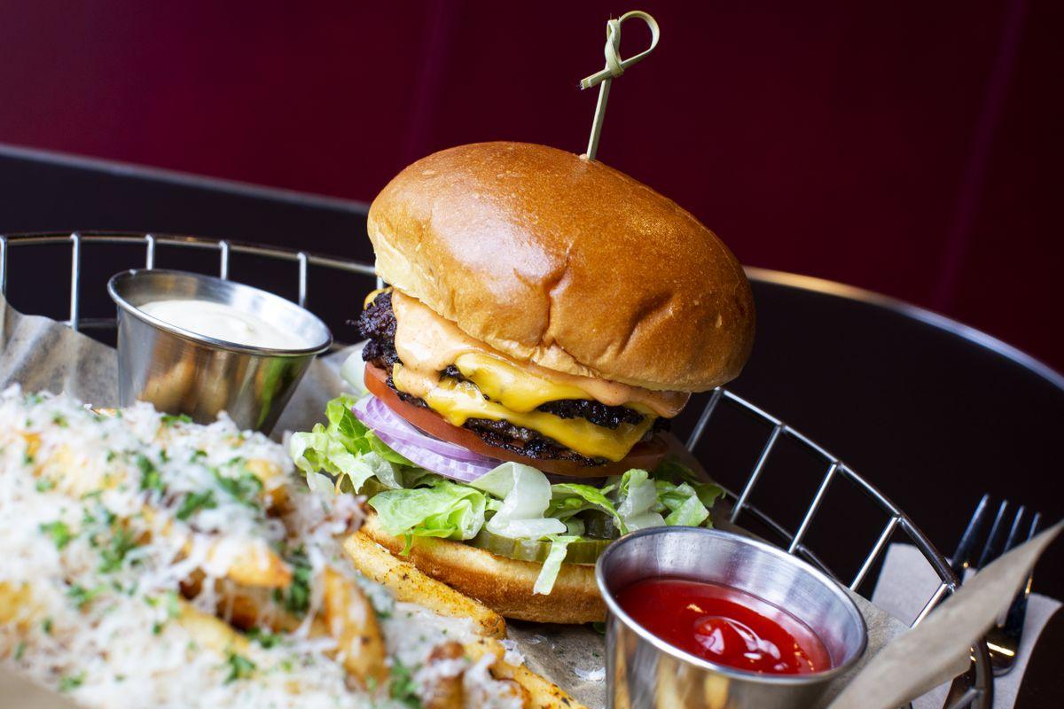 Double Burger at Alumni restaurant in Calgary.  TODD KOROL