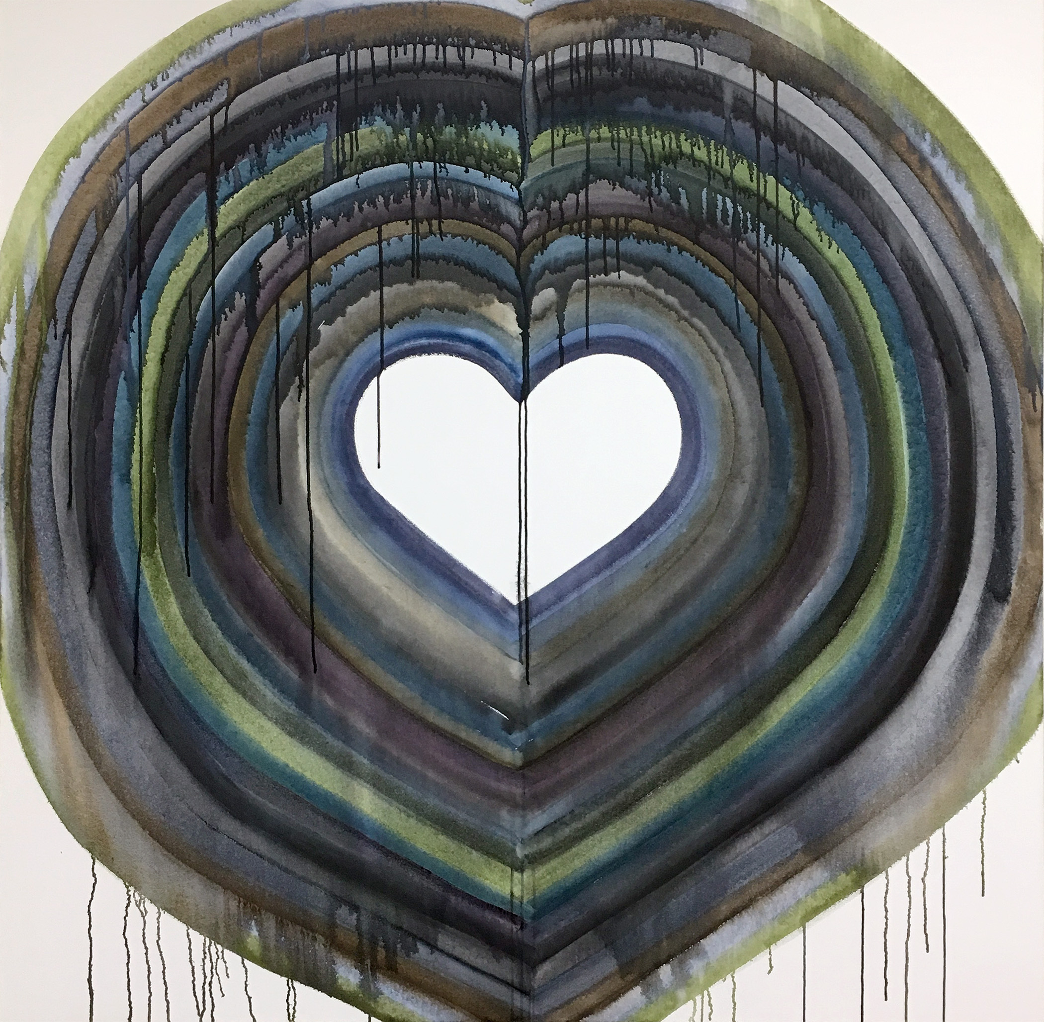 "Ben Quinn - ""Heart 1"" Watercolor and UV Varnish on Canvas. 60 x 60 Inches. 2018."