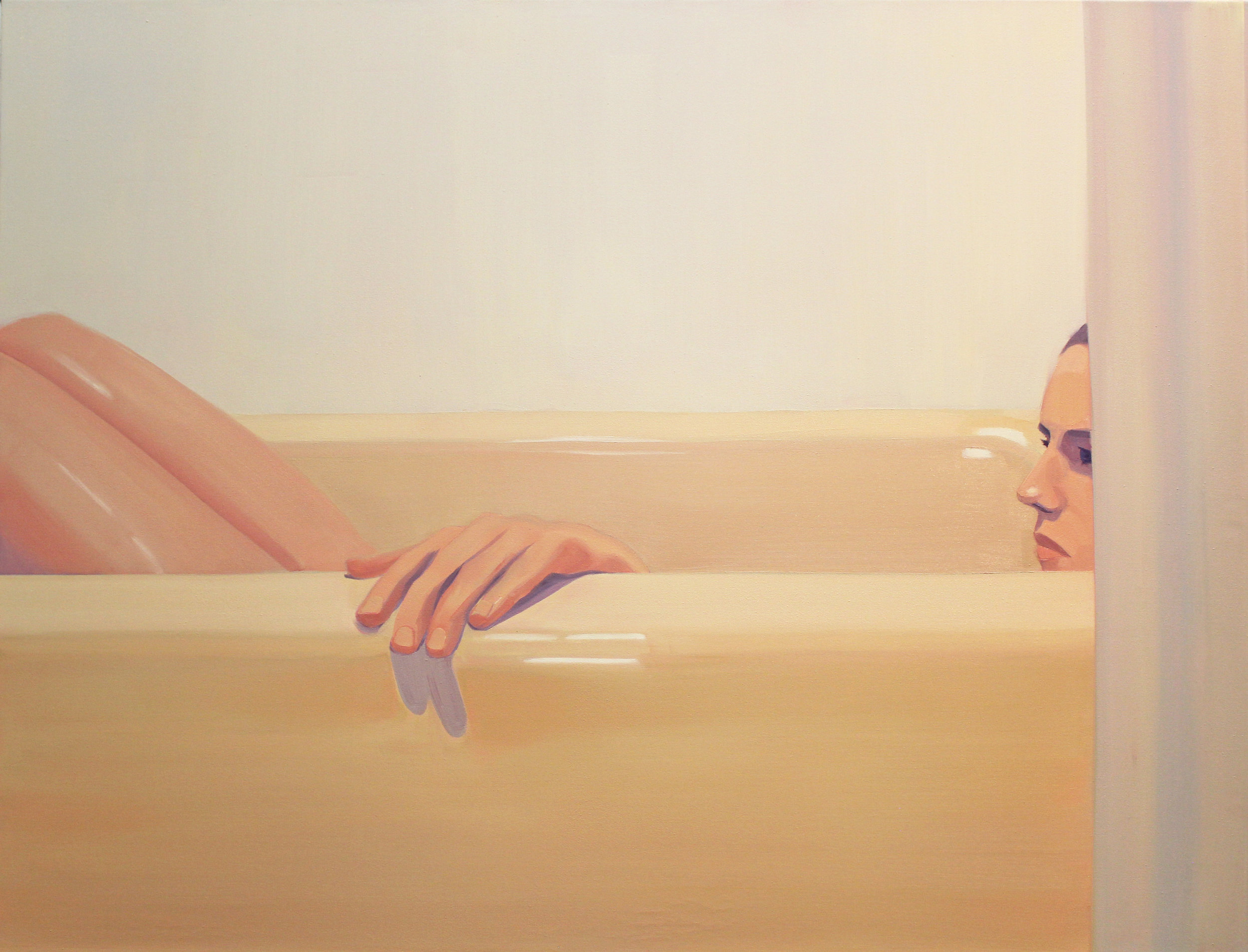 """Molly Bounds -""""Night Bath"""" Oil on Canvas.32 x 42 Inches.2018."""