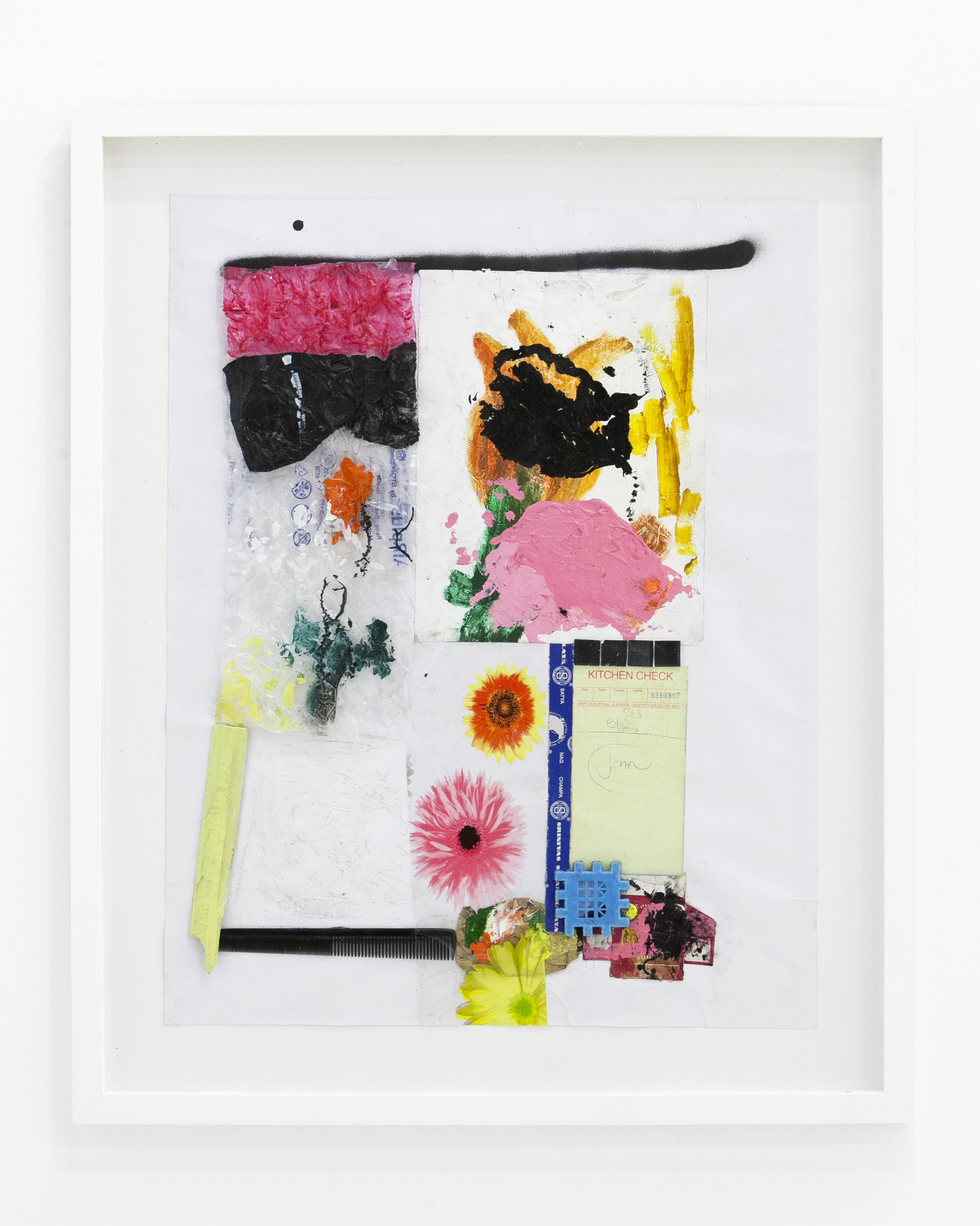 """Jan Gatewood -  """"Cypress Park""""  Acrylic, Spray Paint, Nail Polish, Plastic, Cardboard, Wood, Paper, Comb, Glass, Tiles, Spiderweb, Tablecloth, & Gesso on Paper. 16.5 x 14 Inches. Framed. 2018."""