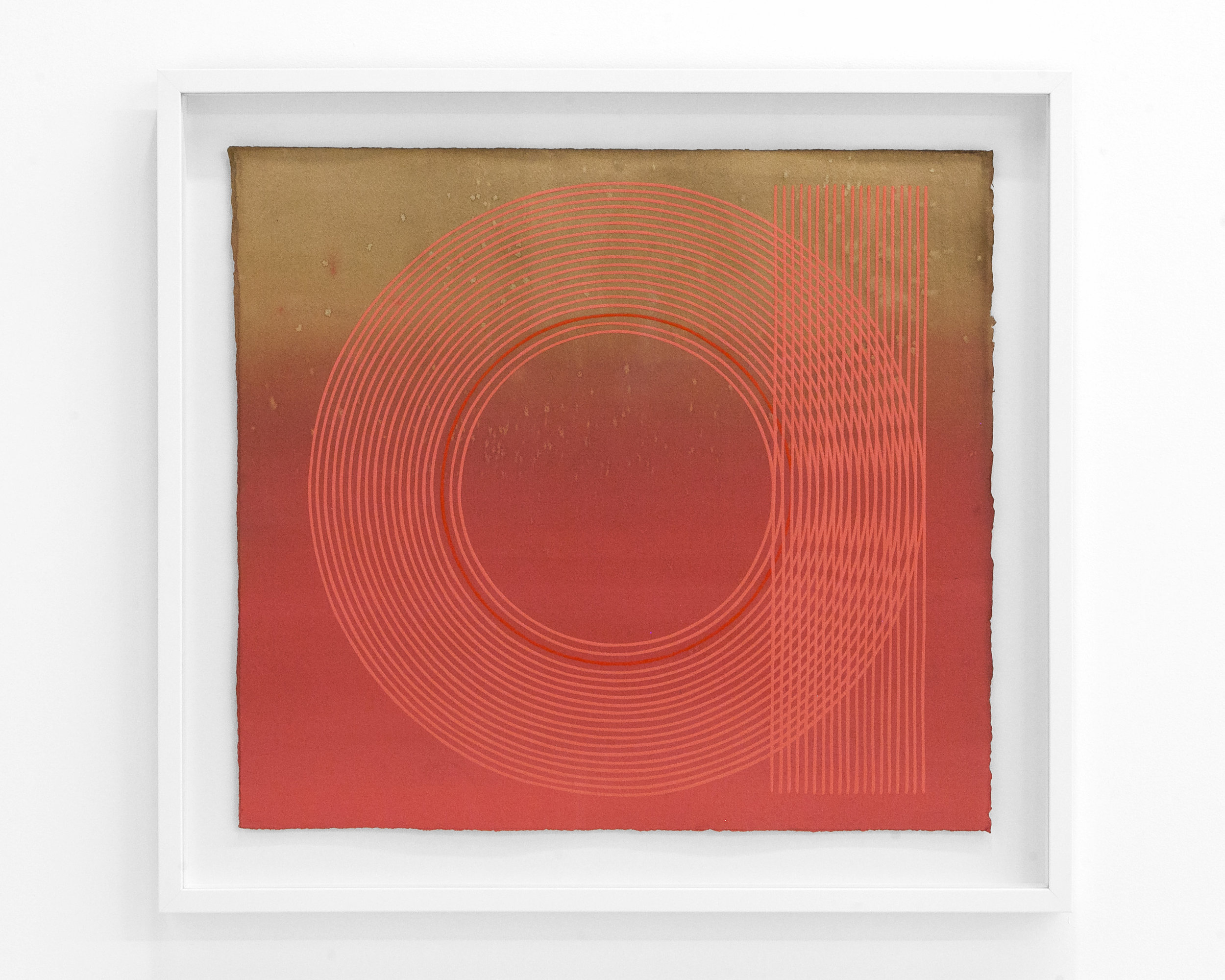 "Kelly Ording  ""M.C. Luscious""  Medium on Dyed Paper. 20 x 22 Inches Unframed. White Frame. 2019."