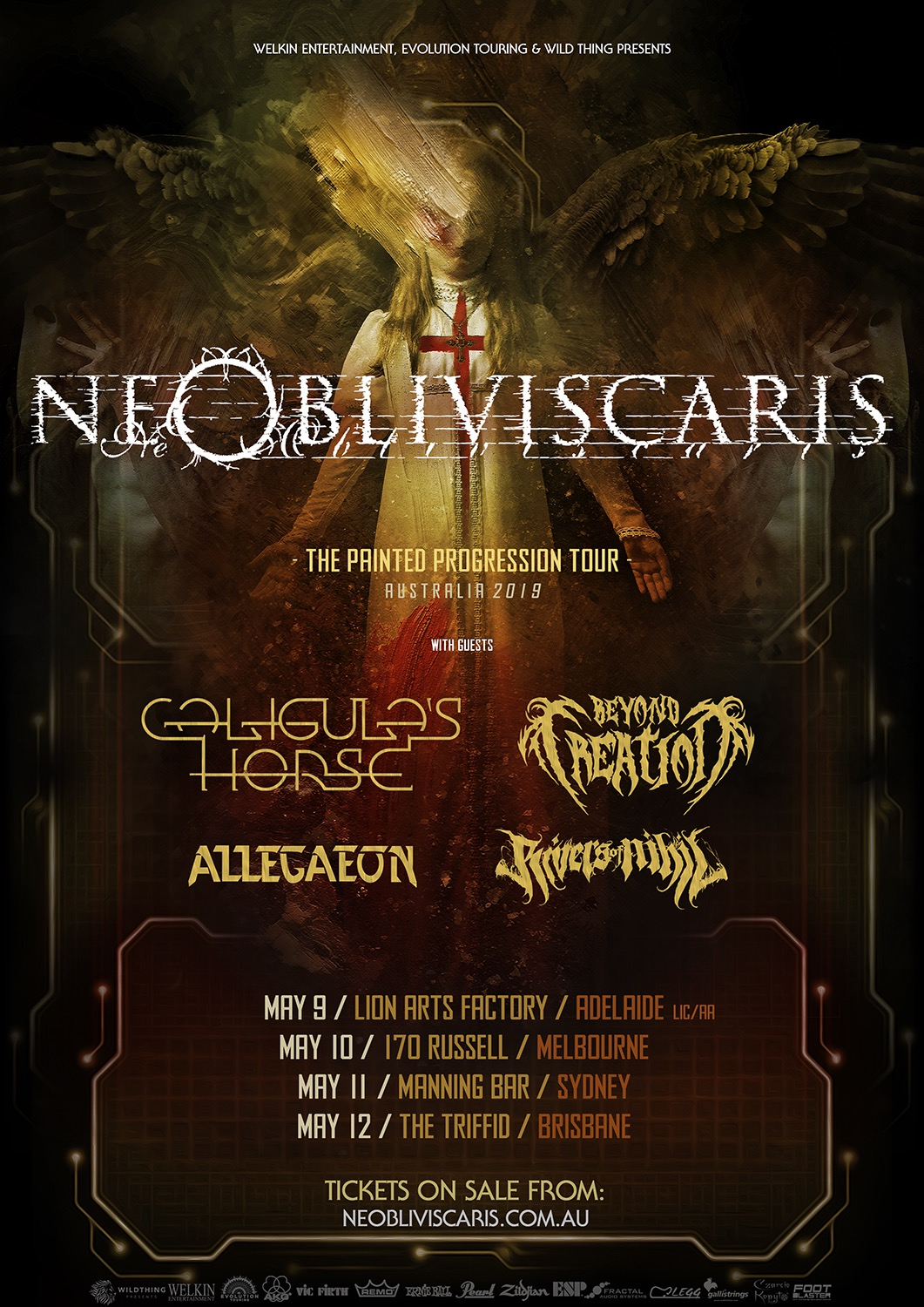 Ne Obliviscaris Caligula's Horse Beyond Creation Allegaeon Rivers of Nihil Australia May 2019.jpg
