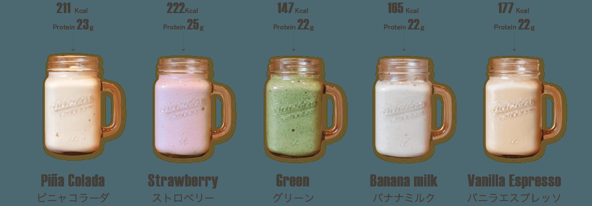 プロテインと果物・野菜を使ったハイスペックなスムージーは、メンバーから大人気(プロテインスムージー:750円〜)