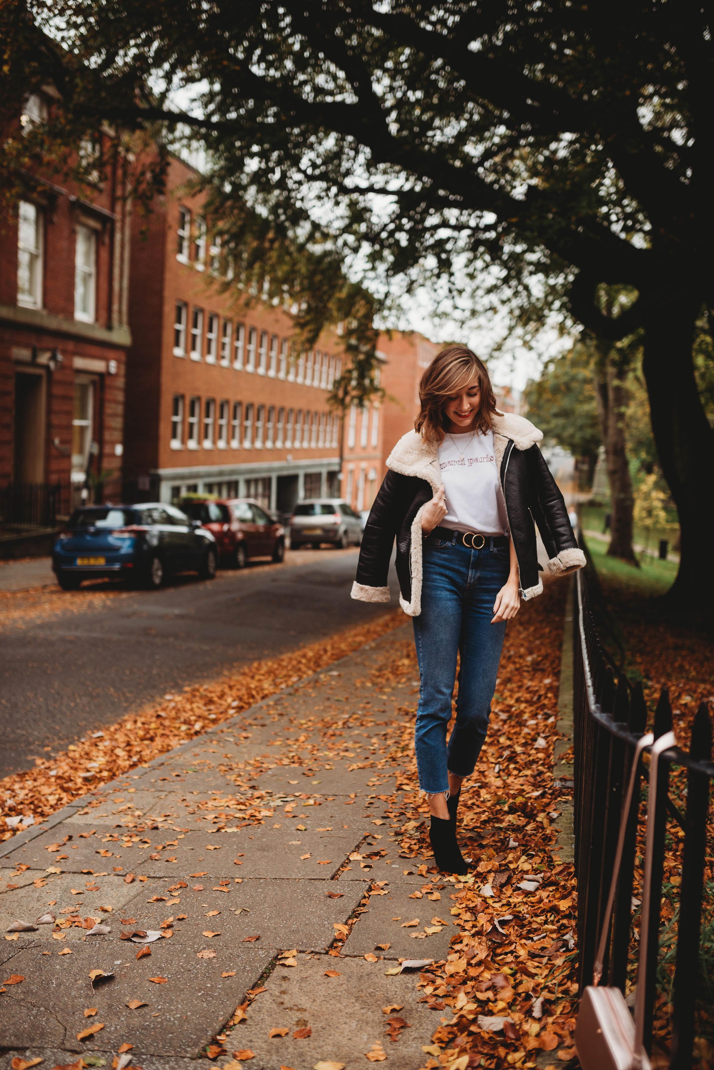 Outfit Details: Jacket & Jeans (Primark), Boots & Merci Paris T-Shirt (Marks & Spencer), Belt (River Island), Coin Necklace (Sarah Styles)