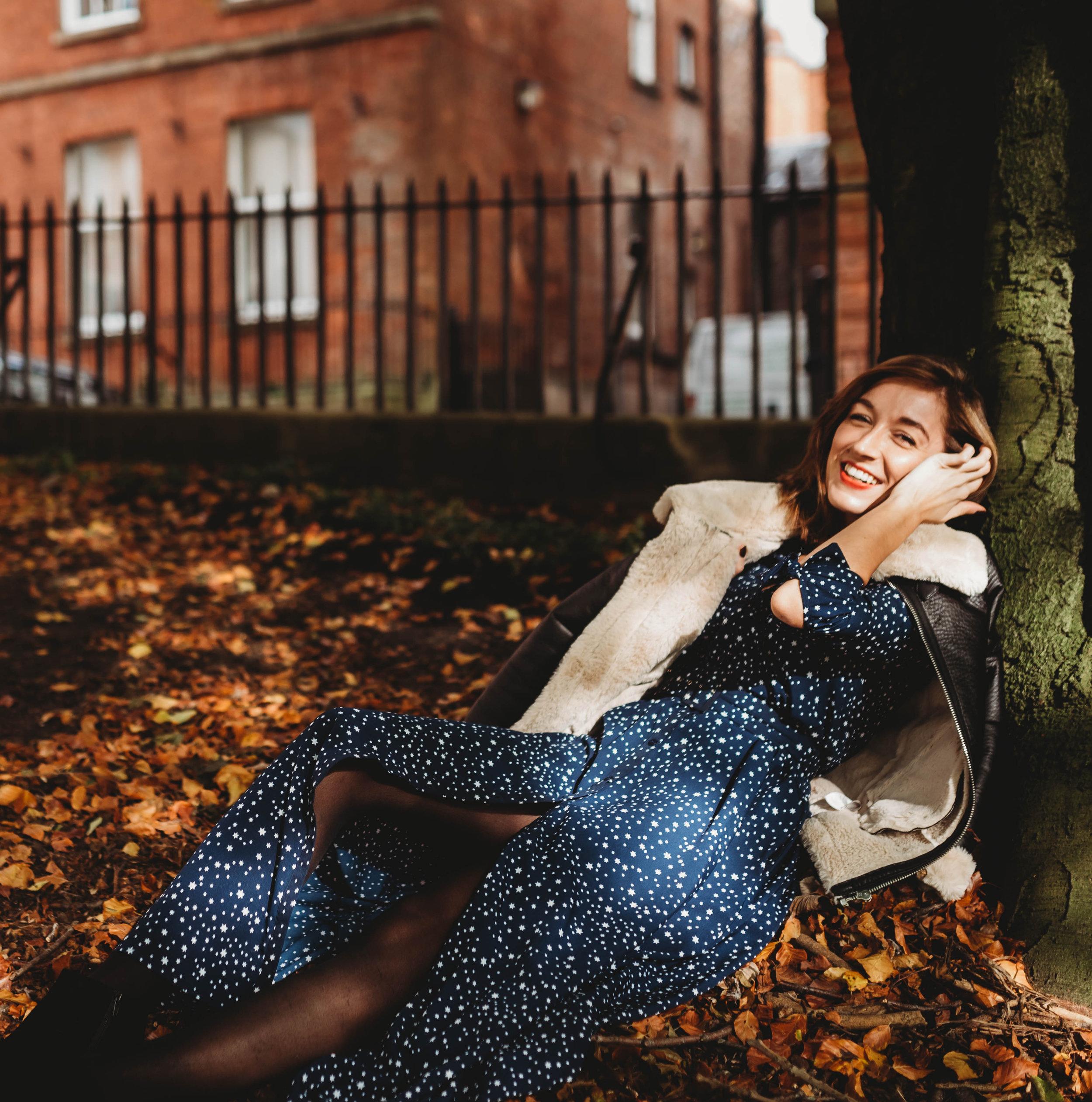Outfit Details: Dress (Dancing Leopard at Silk Fred), Boots (Marks & Spencer), Jacket (Primark)