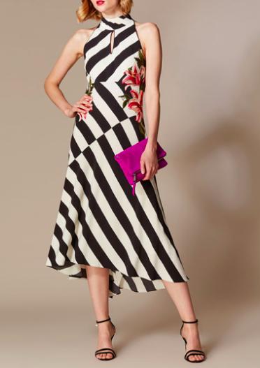 Striped Strappy Midi Dress