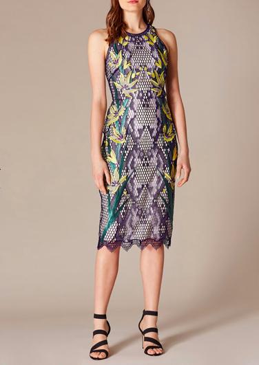 Snakeskin Floral Lace Dress