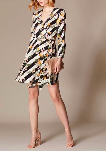 Striped Floral Wrap Dress