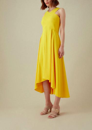 Drop-Hem Midi Dress