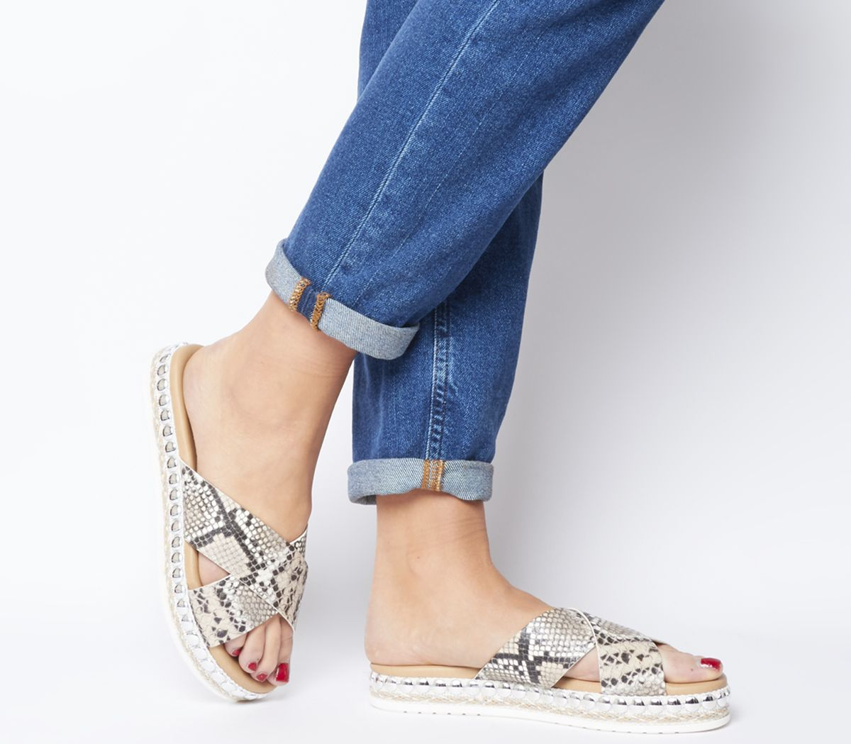 Office Sincere Studded Cross Strap Sandals Snake Leather