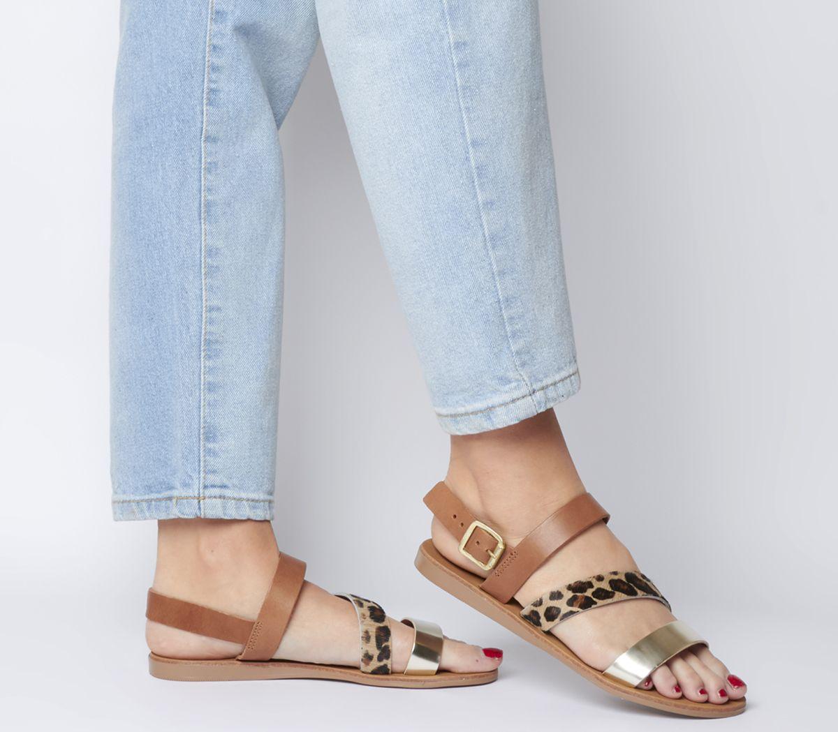 Office Sweet Heart Asymmetric Strap Sandals Tan Leather Leopard Gold Mix
