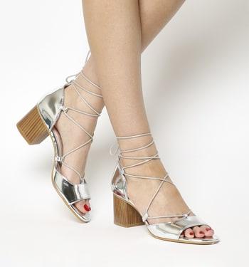Office Modernist Ghillie Block Heel Sandals Silver Mirror