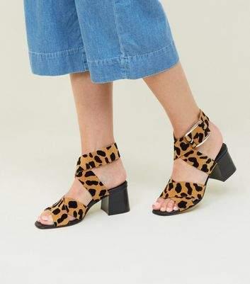 New Look Tan Premium Suede Leopard Print Cross Strap Sandals