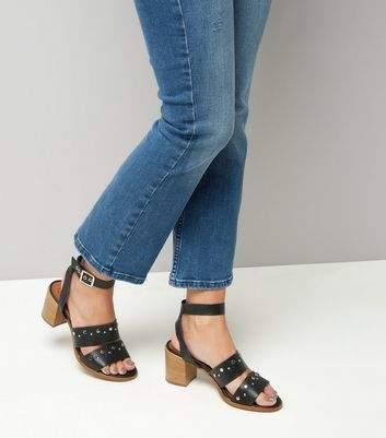 New Look Black Premium Leather Stud Block Heel Sandals