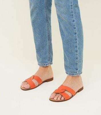 New Look Wide Fit Orange Leather Twist Strap Sliders